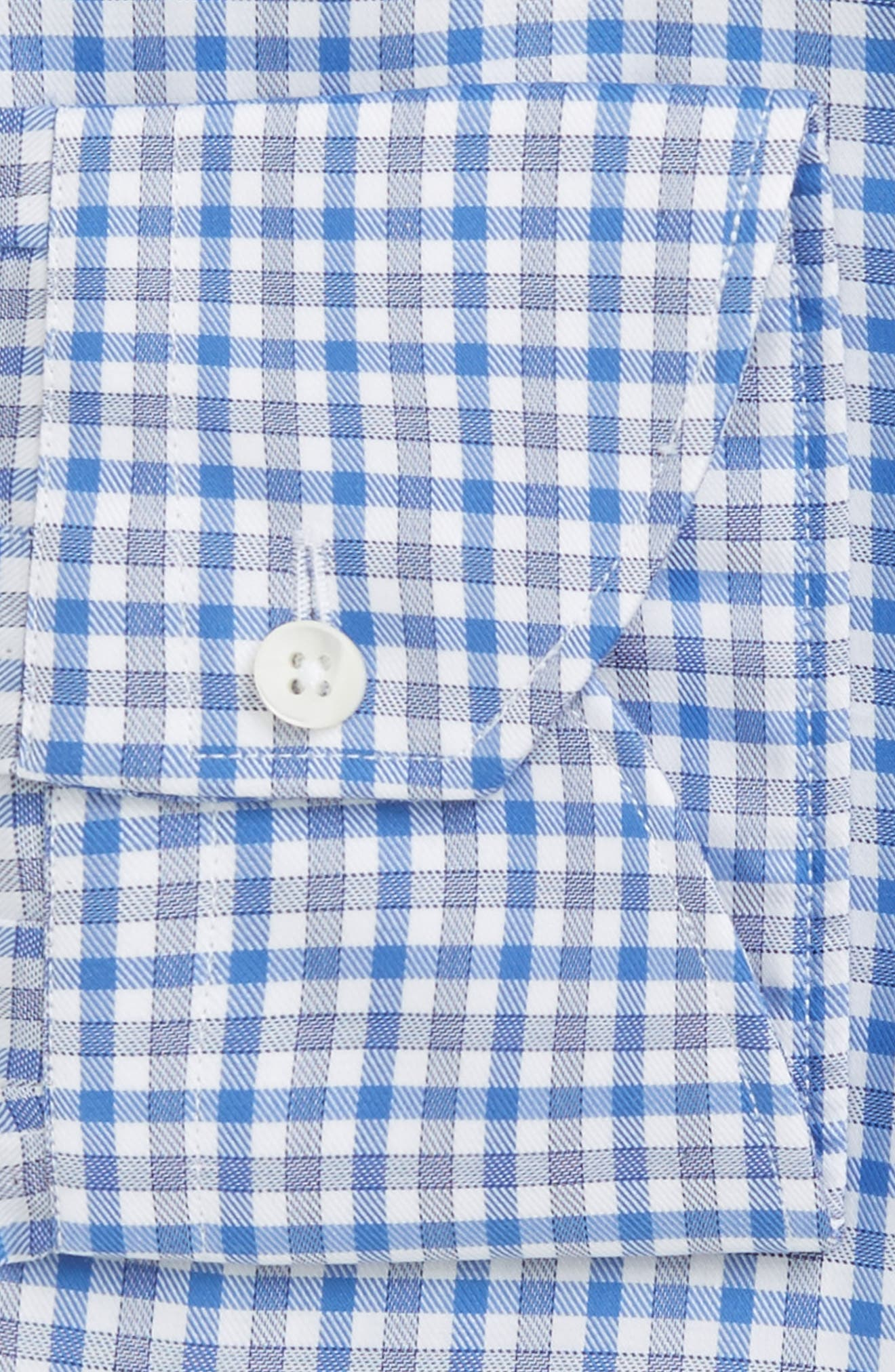 Regular Fit Check Dress Shirt,                             Alternate thumbnail 2, color,                             Blue Check