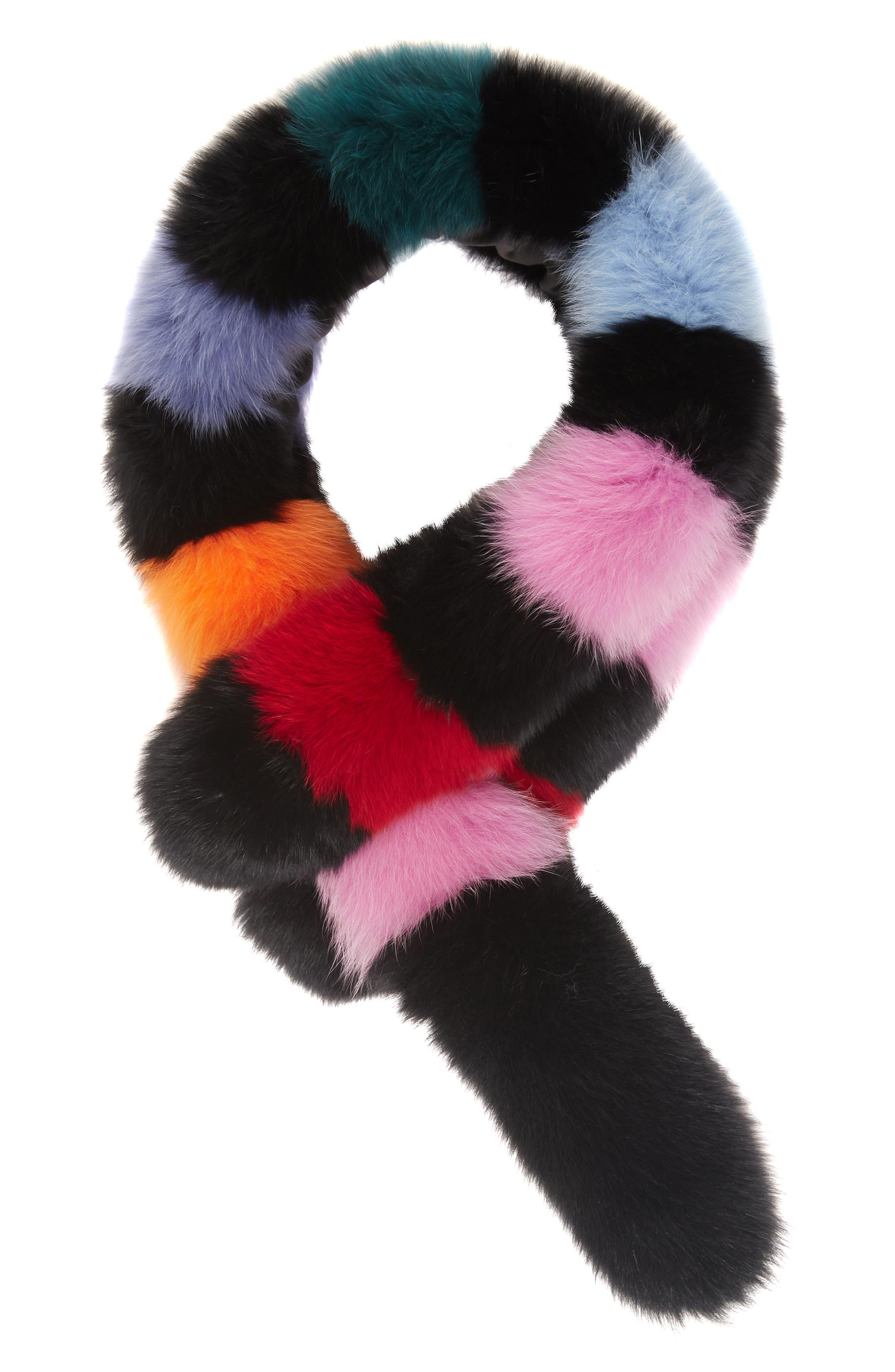 Popsicle Genuine Fox Fur Scarf,                         Main,                         color, Black/Multi Stripe