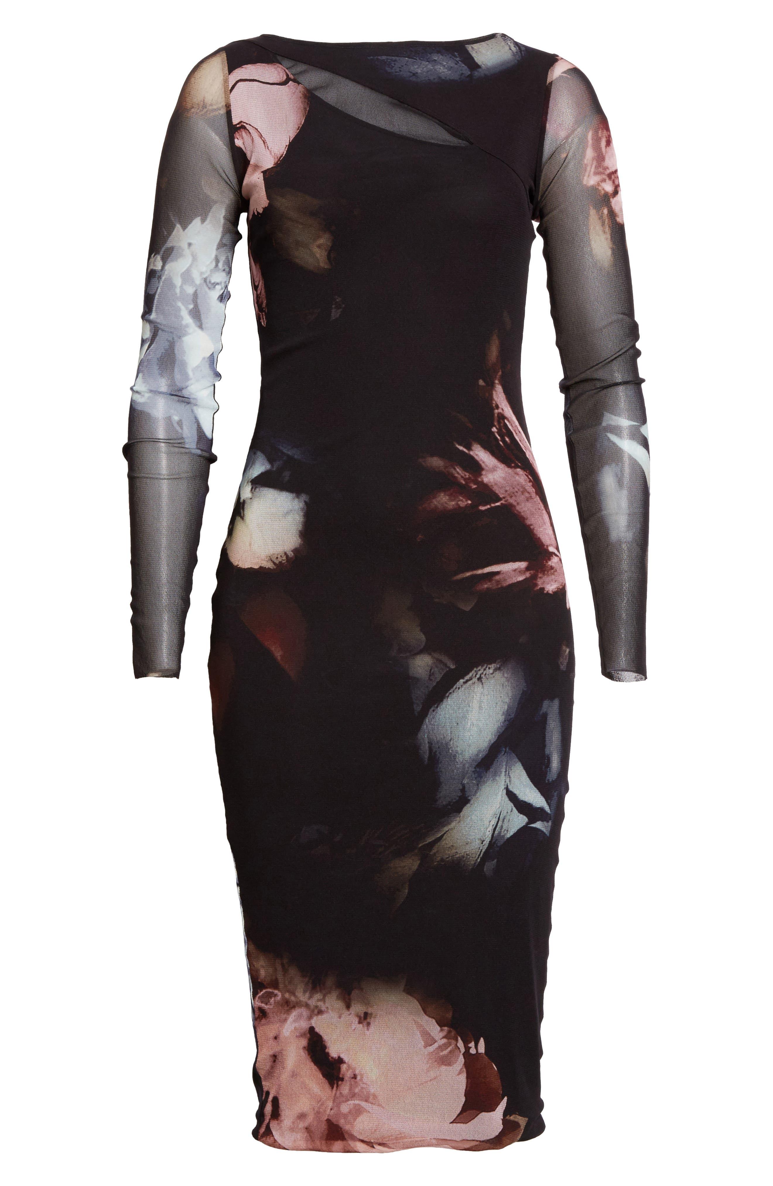 Slash Cutout Floral Print Tulle Dress,                             Alternate thumbnail 4, color,                             Graphite