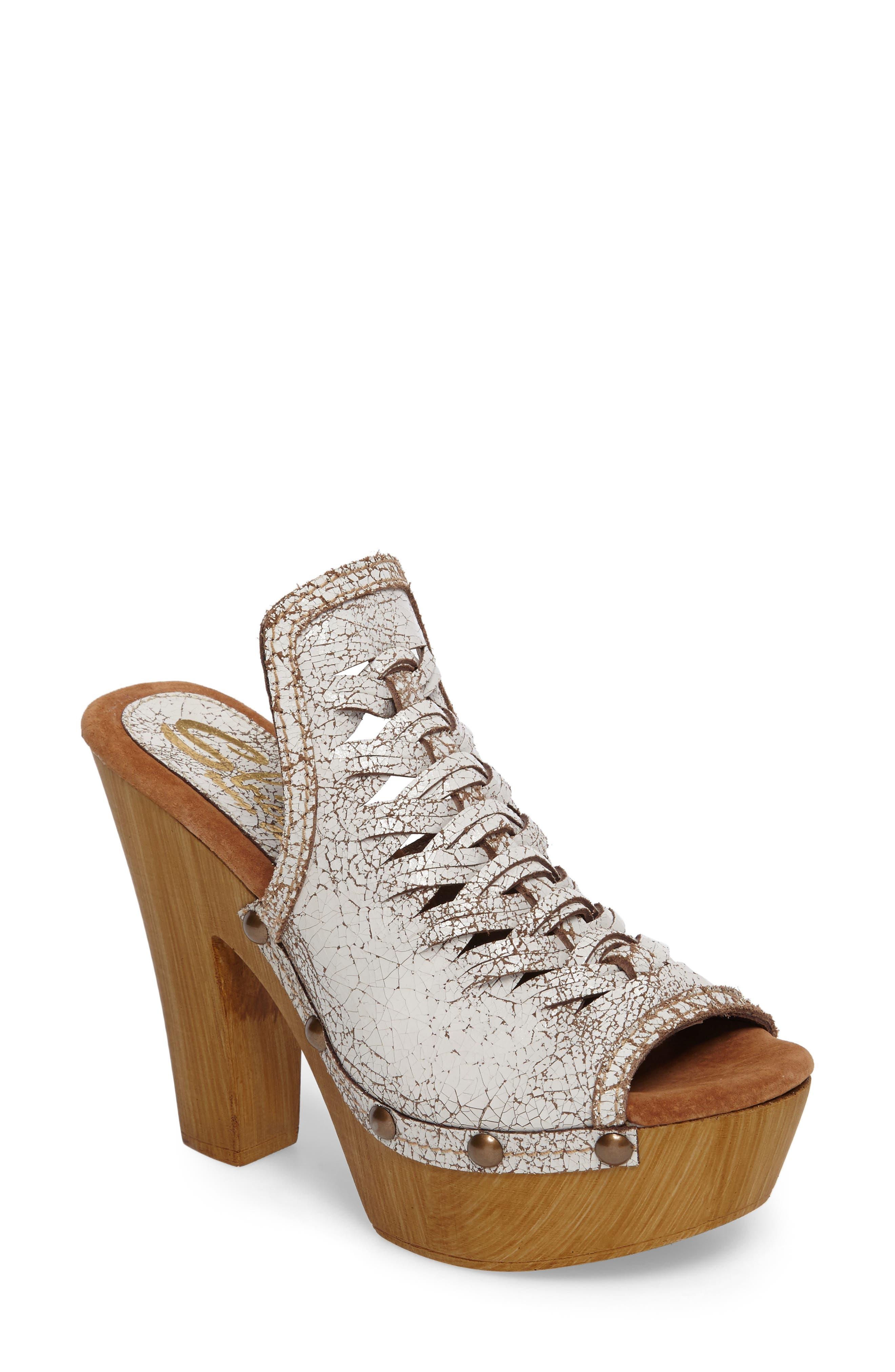 Kinga Platform Sandal,                         Main,                         color, White Leather