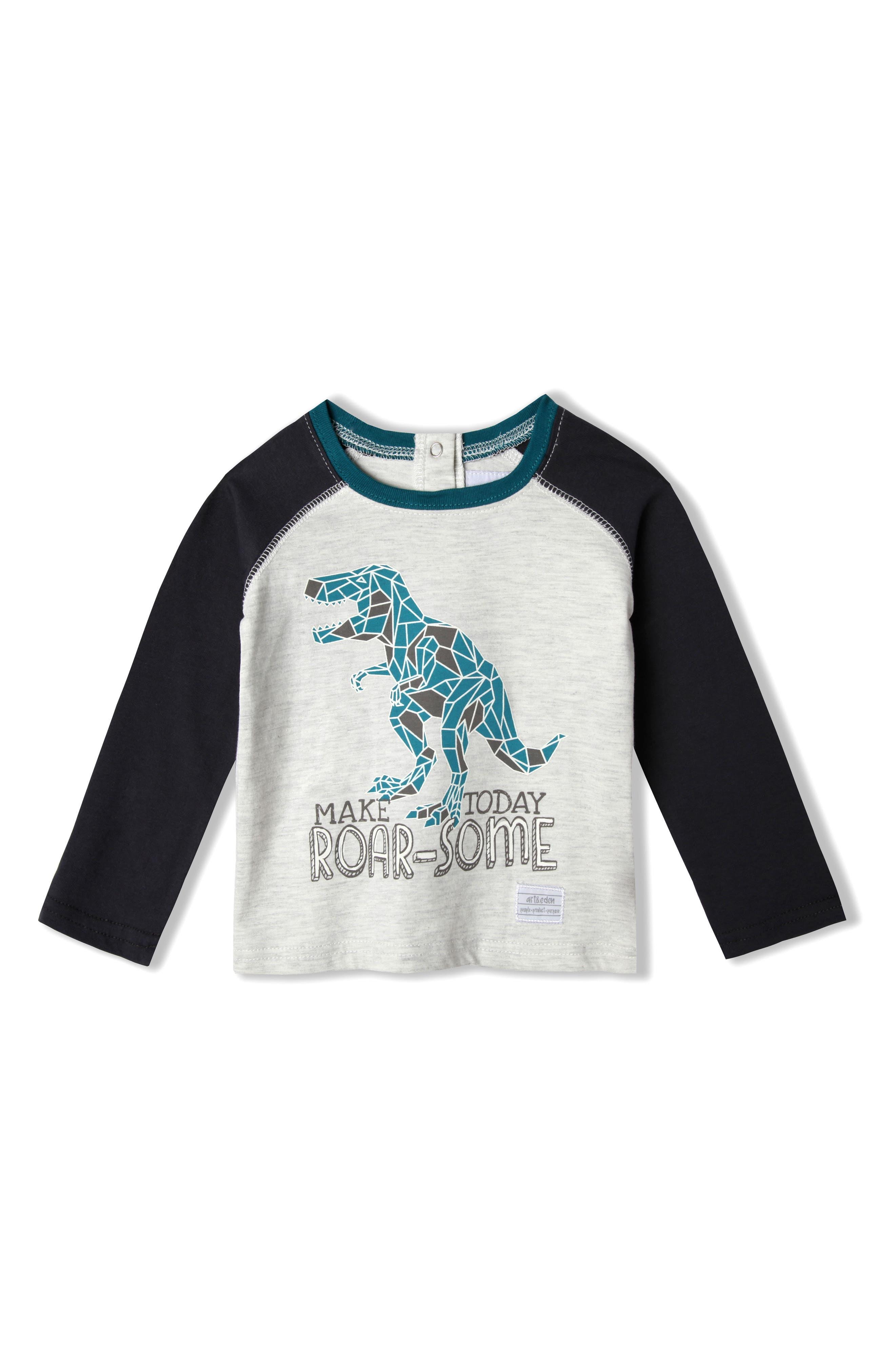 Mini Dino Organic Cotton T-Shirt,                             Main thumbnail 1, color,                             Marled