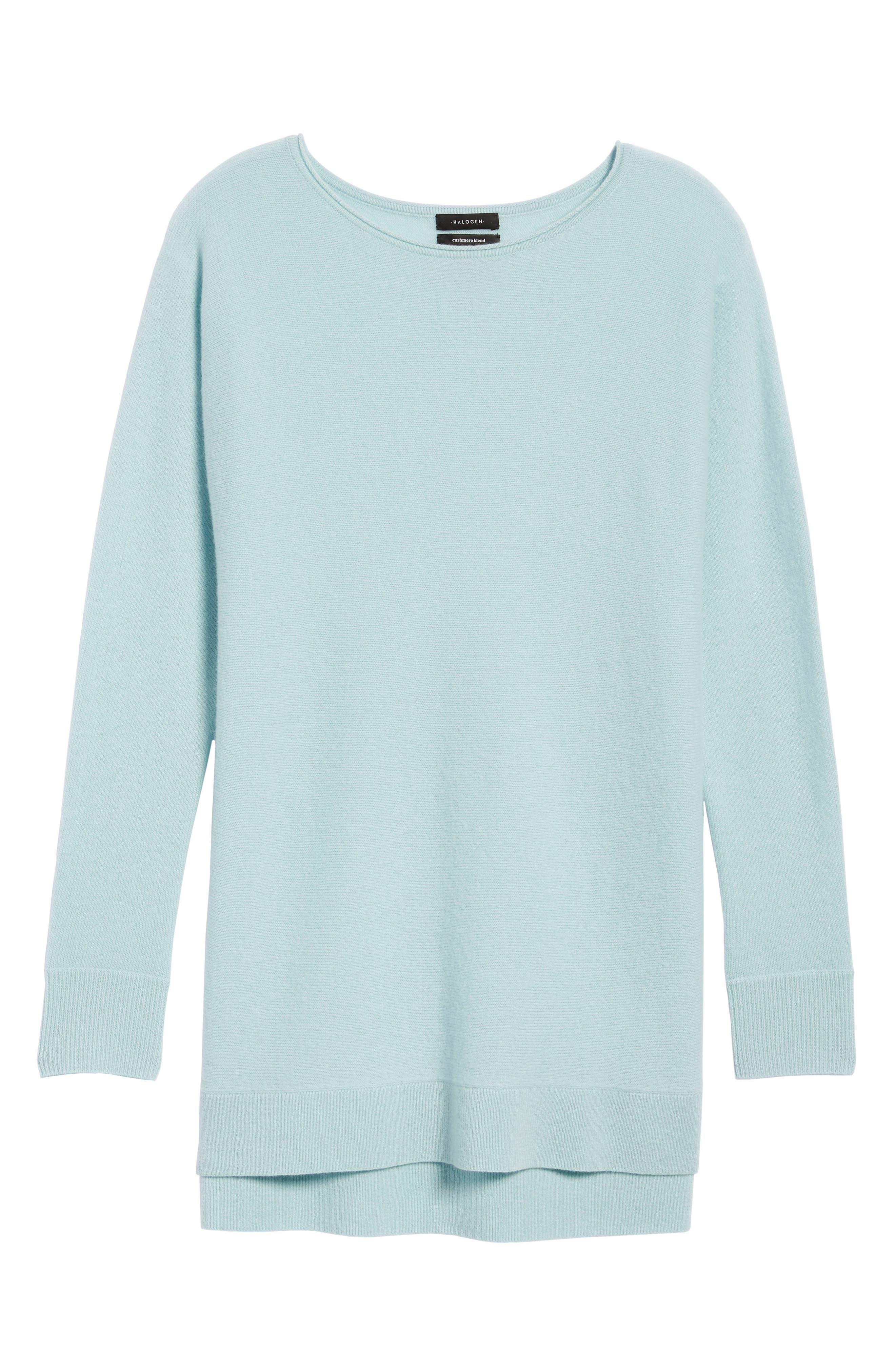 Alternate Image 6  - Halogen® High/Low Wool & Cashmere Tunic Sweater (Regular & Petite)