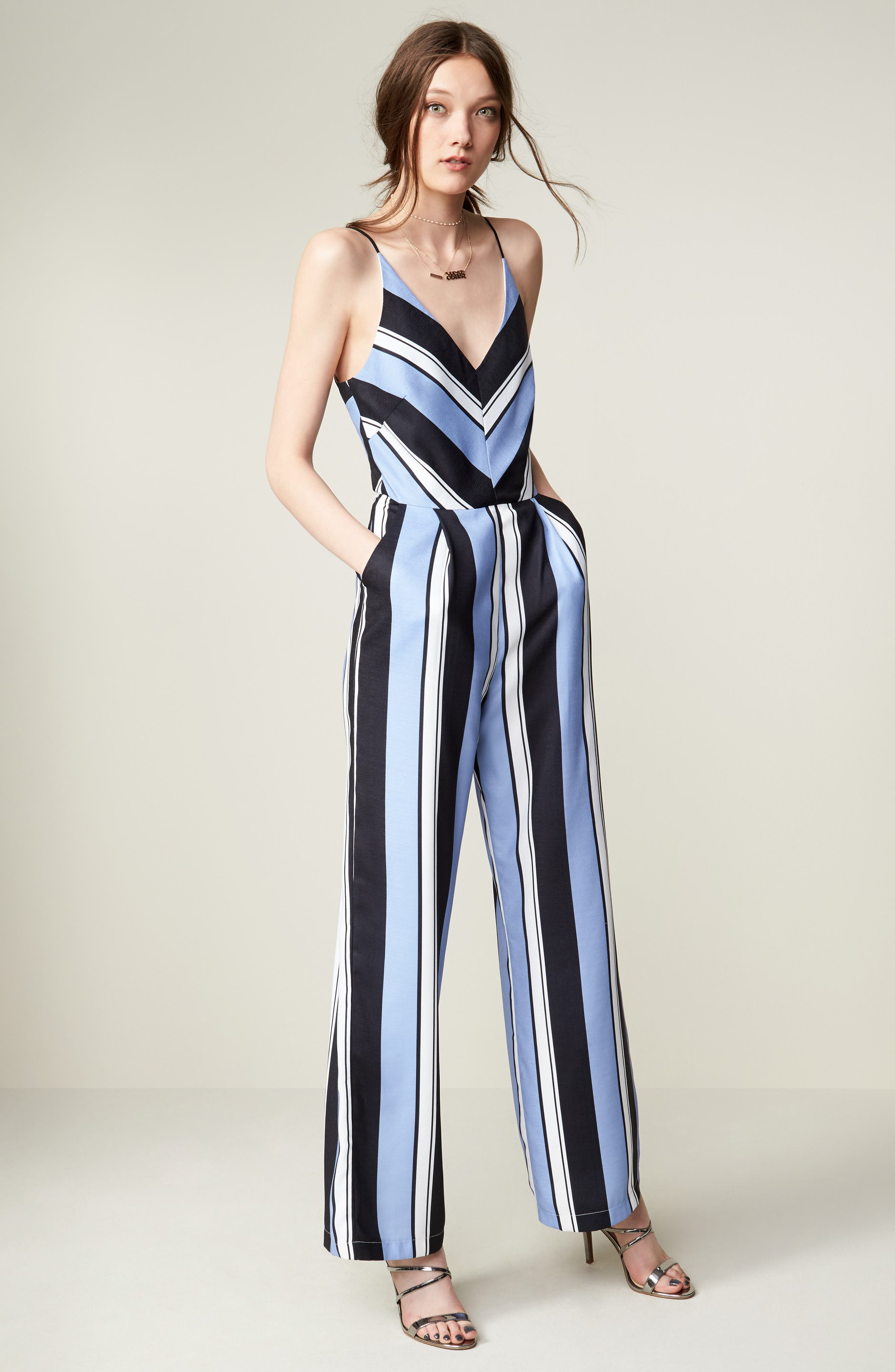 Alternate Image 5  - Adelyn Rae Stripe Crepe Jumpsuit