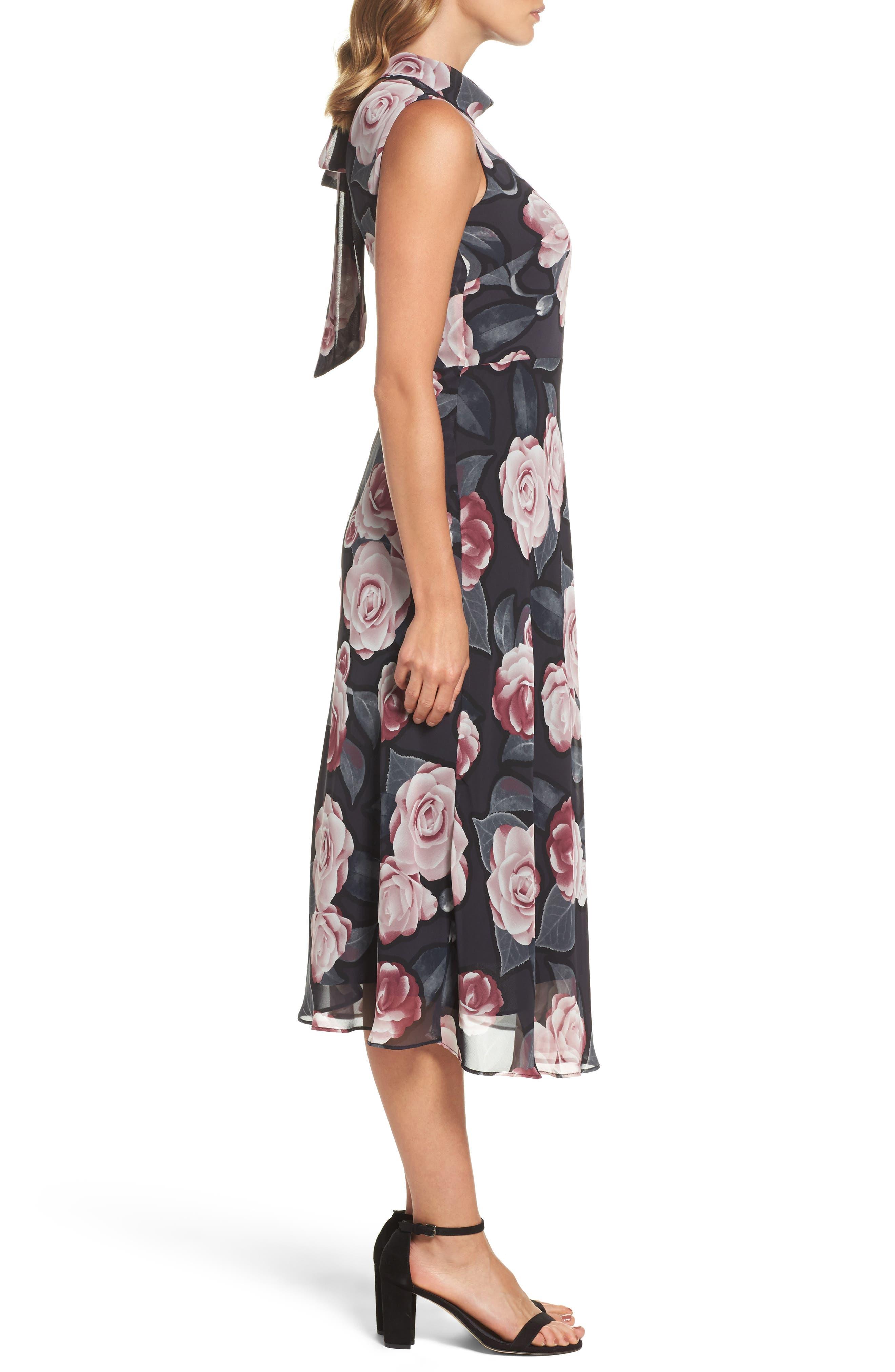 Alternate Image 3  - Taylor Dresses Tossed Rosewood Midi Dress