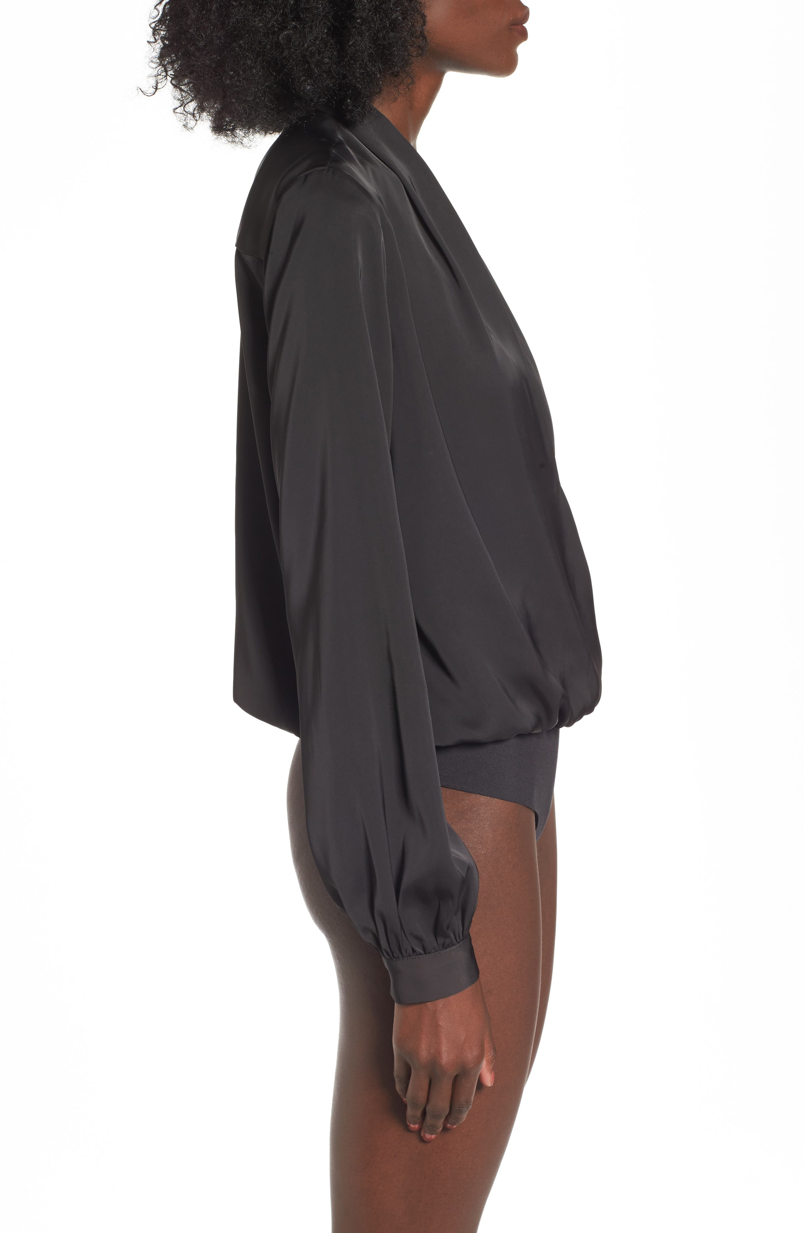 L'Academie The Long Sleeve Bodysuit,                             Alternate thumbnail 3, color,                             Black