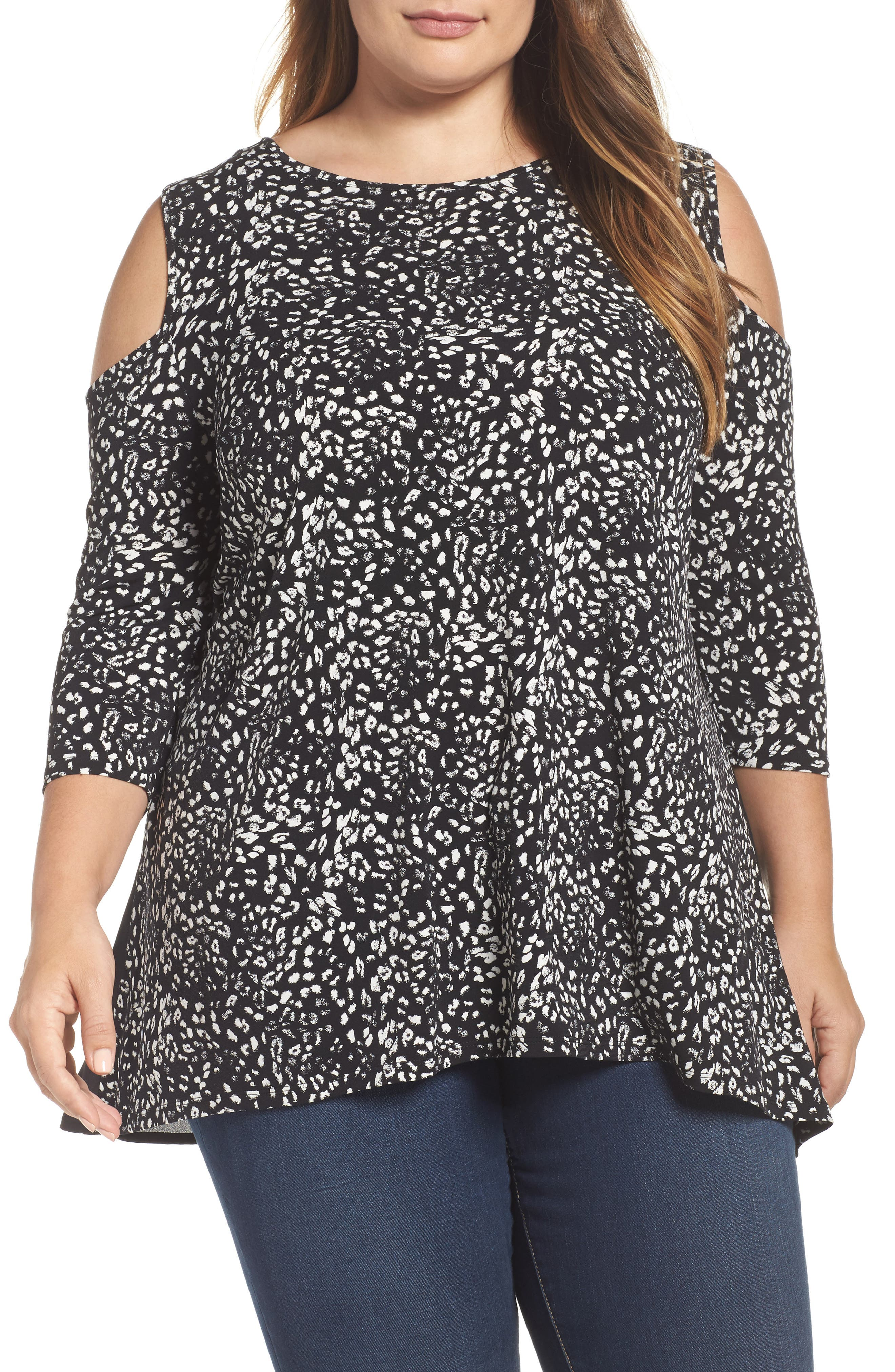 Alternate Image 1 Selected - Vince Camuto Animal Whispers Cold Shoulder Top (Plus Size)