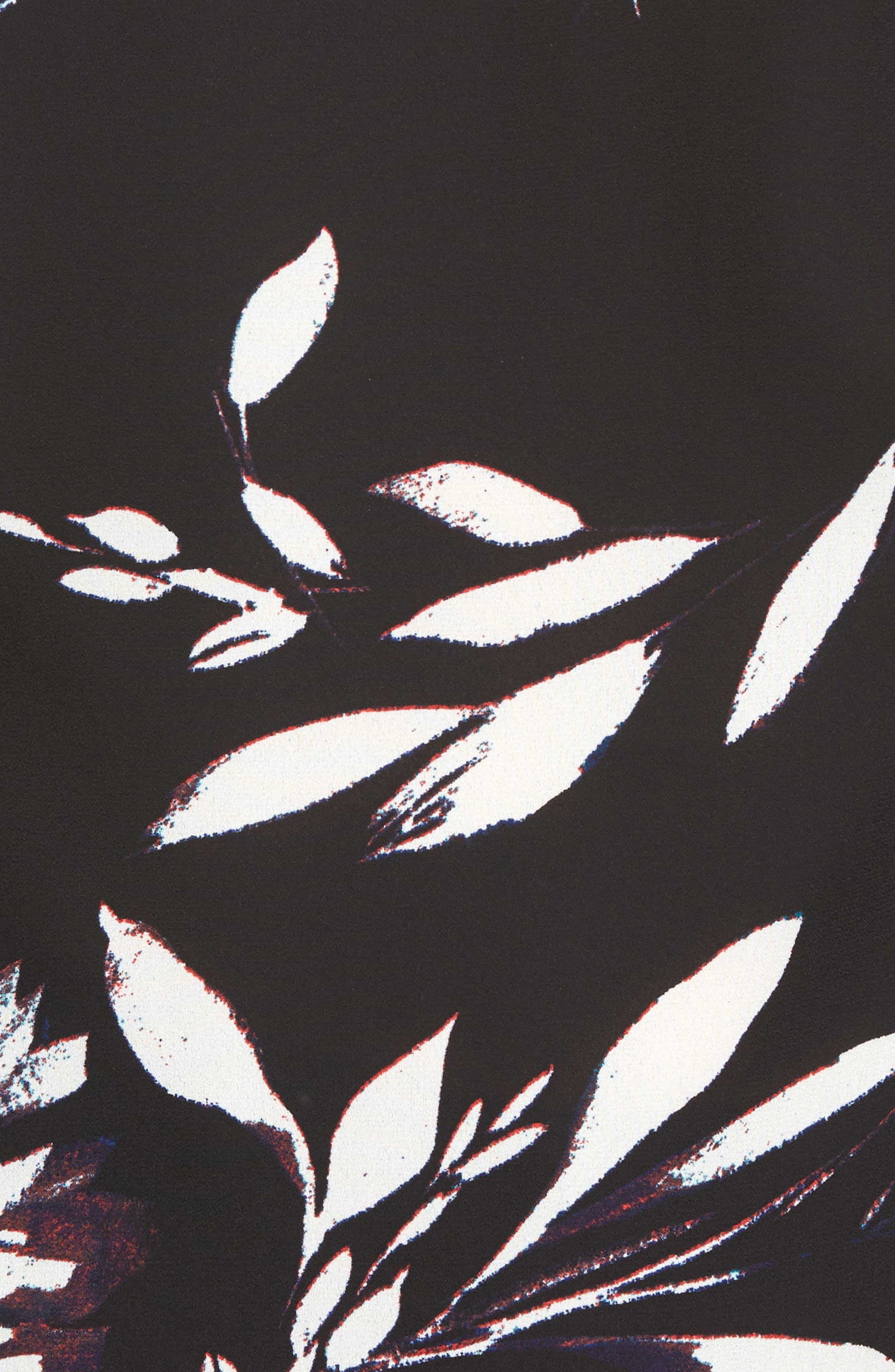Floral Vision Bell Sleeve Blouse,                             Alternate thumbnail 5, color,                             Rich Black