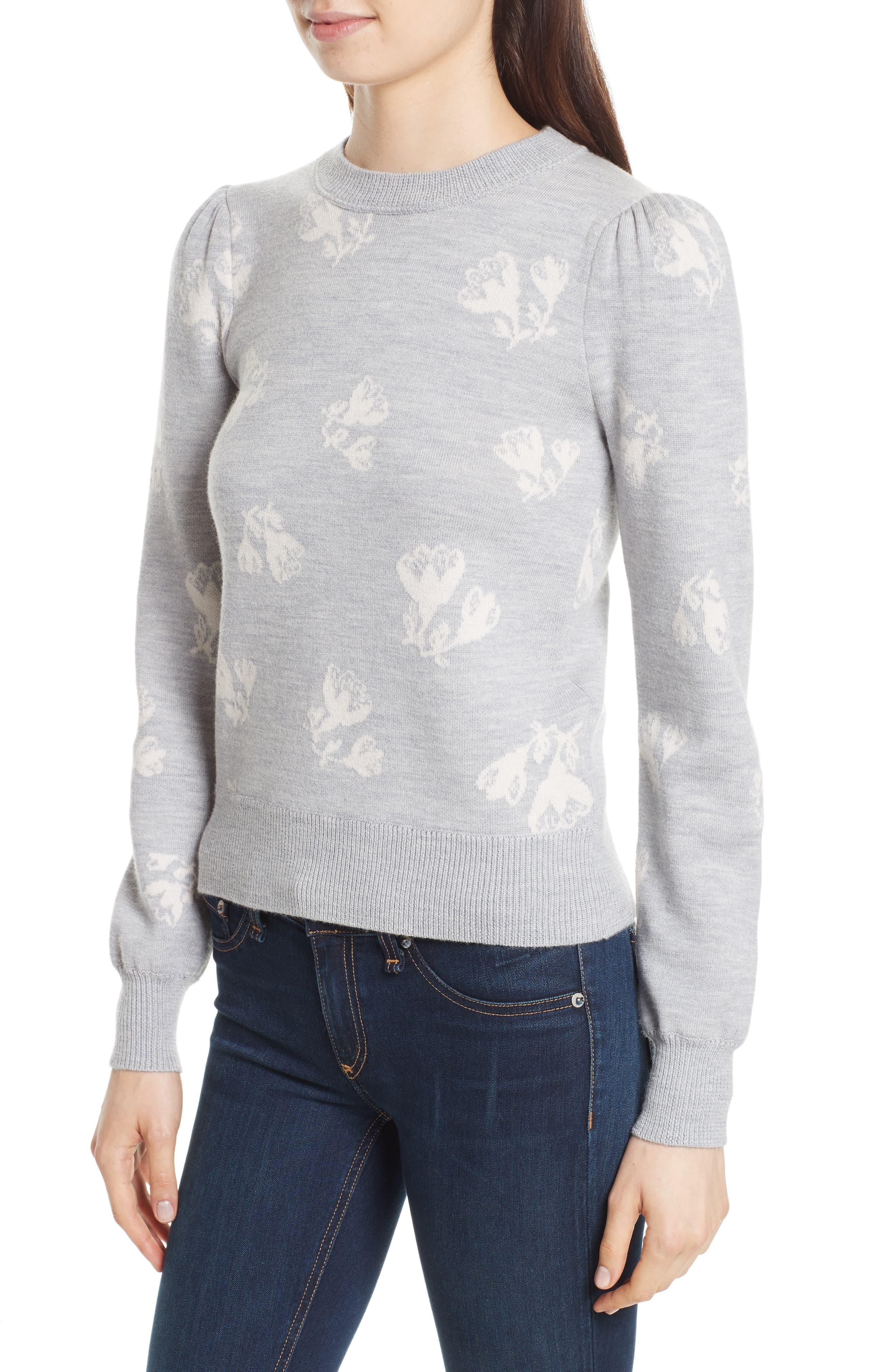 Floral Jacquard Sweater,                             Alternate thumbnail 4, color,                             Grey Melange