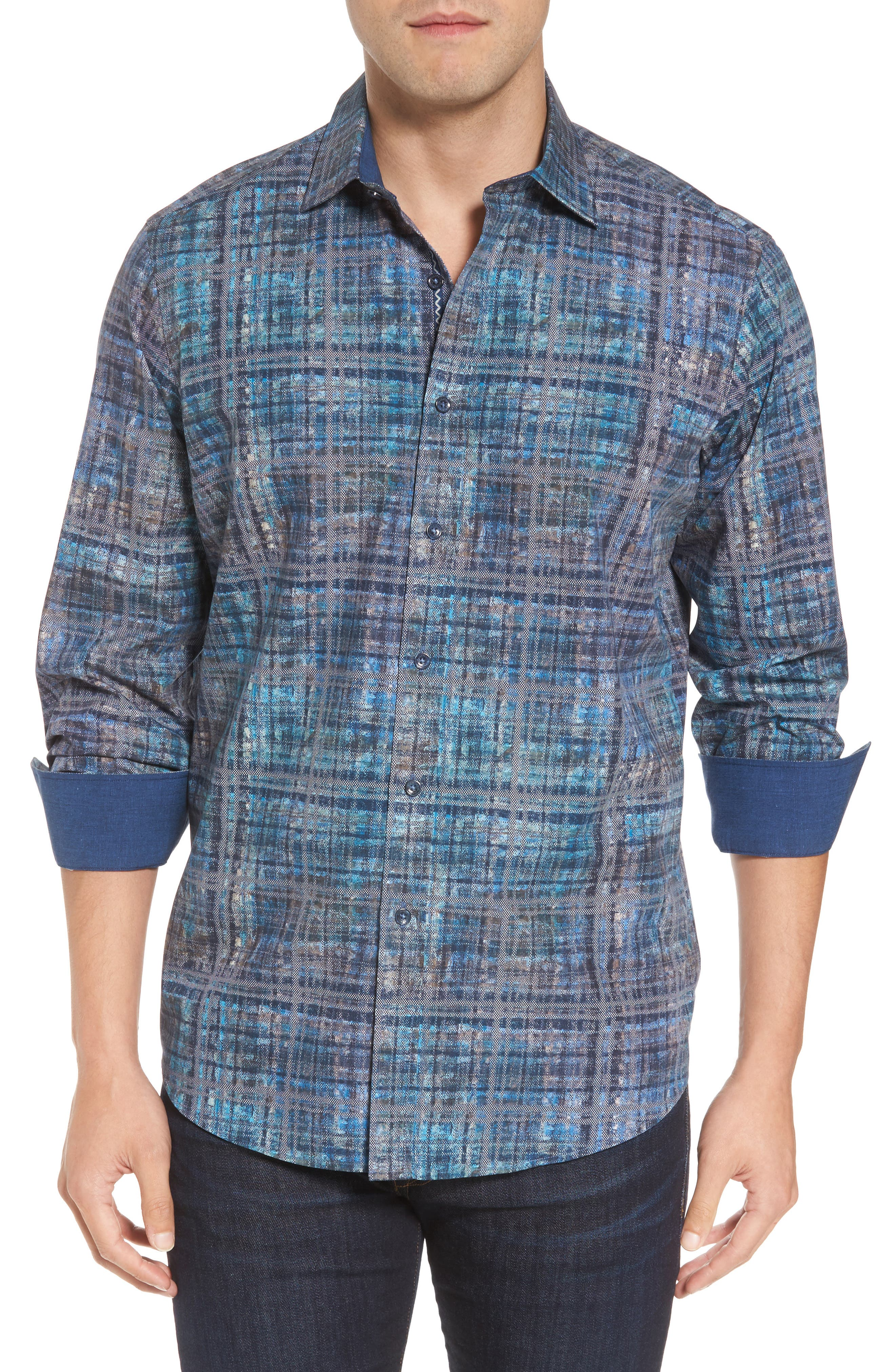 Classic Fit Print Sport Shirt,                         Main,                         color, Steel
