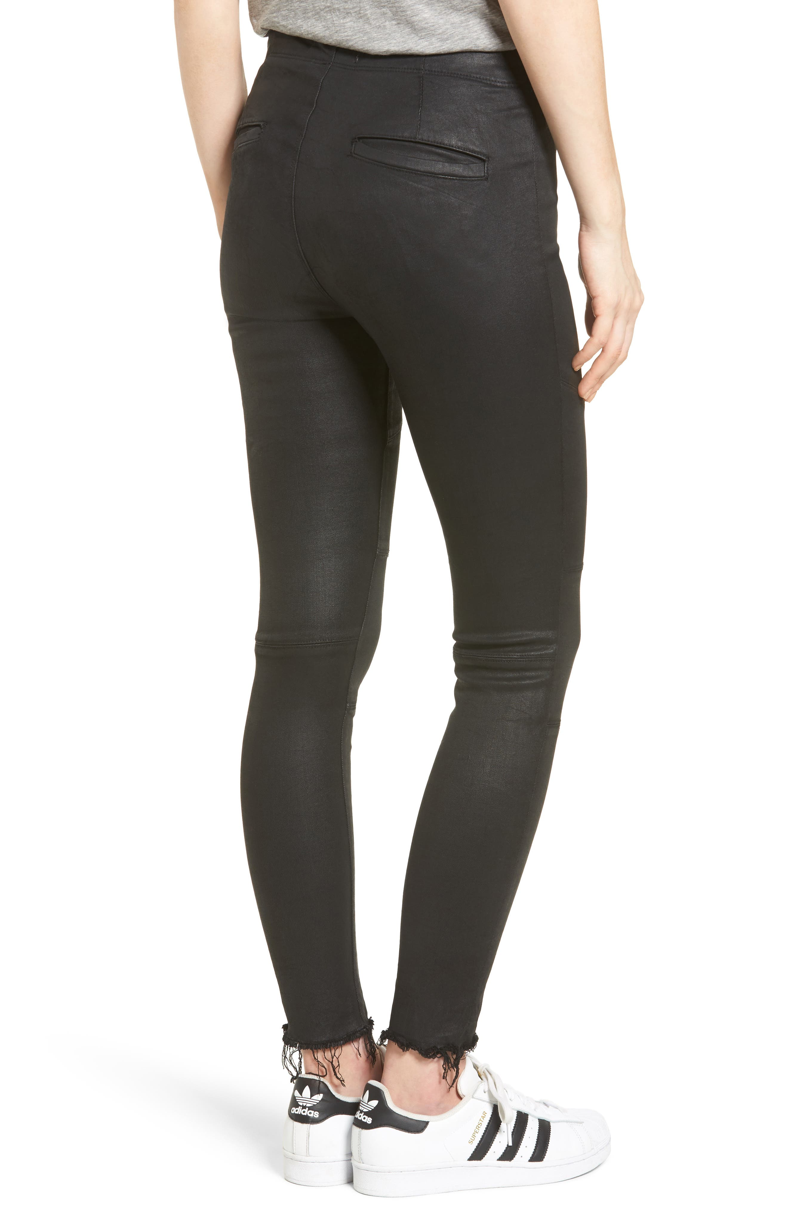 Haven Coated Denim Leggings,                             Alternate thumbnail 2, color,                             Asphalt