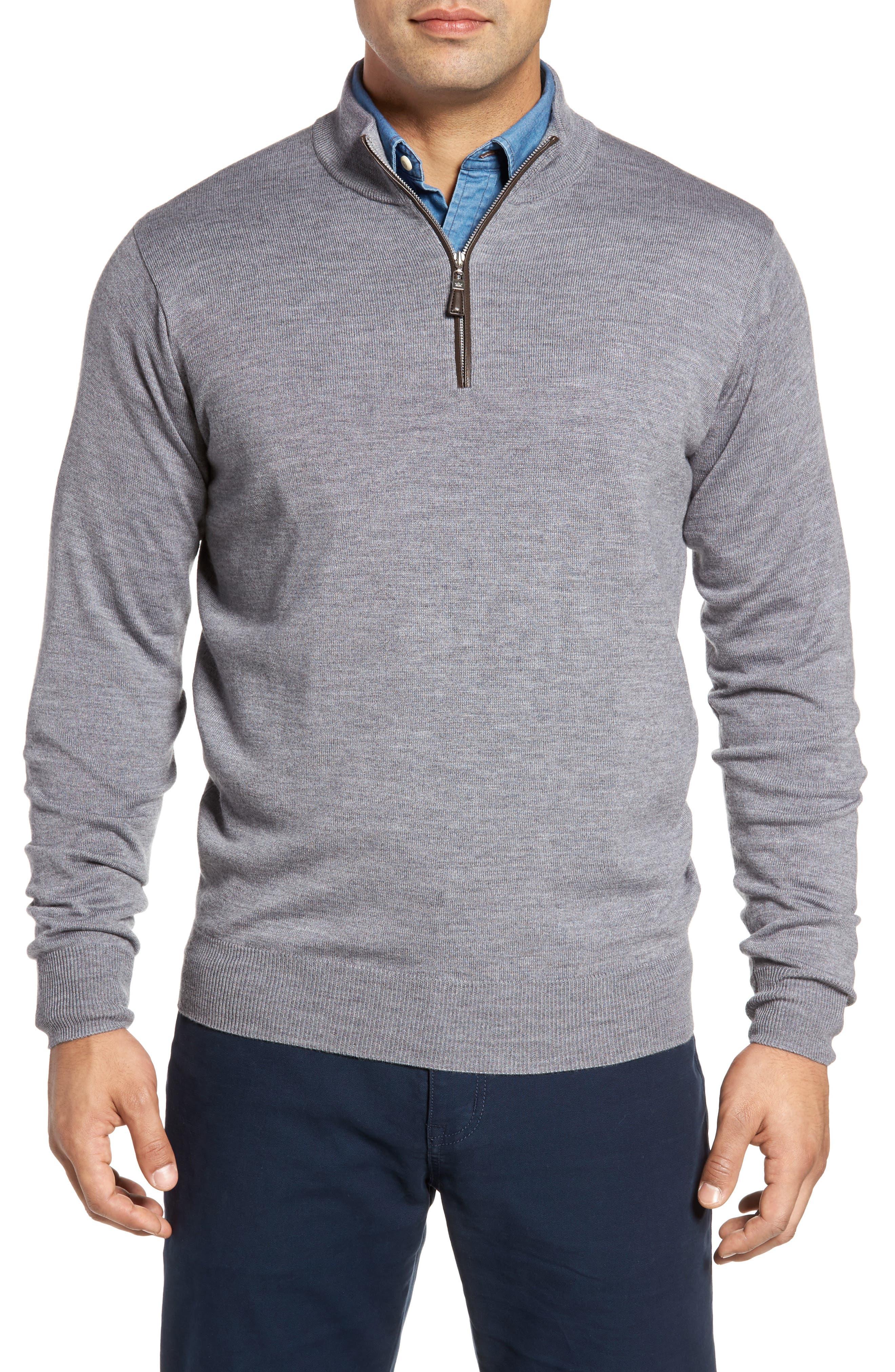 Peter Millar Merino Wool & Silk Quarter Zip Pullover
