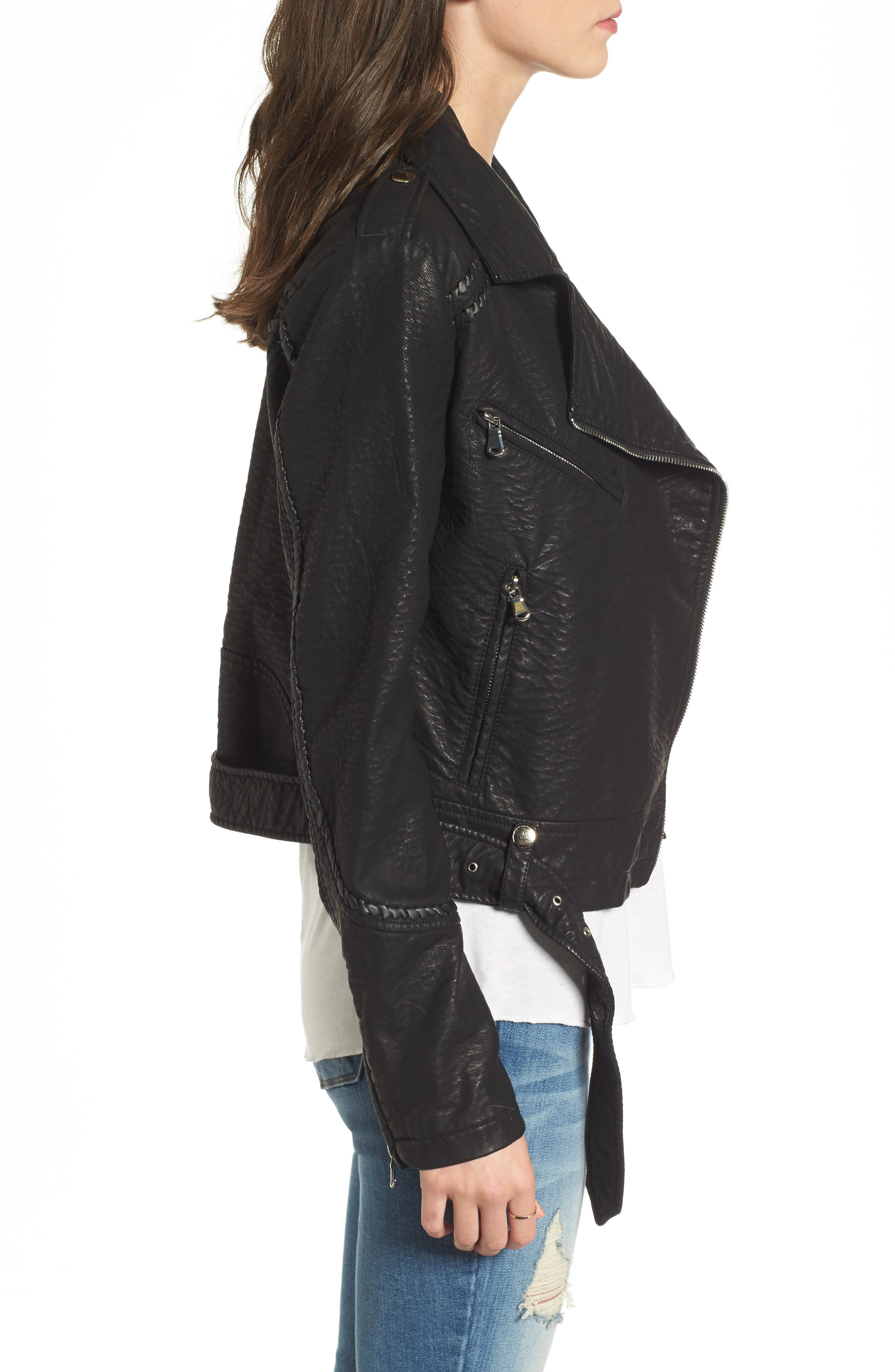 Furthermore Faux Leather Jacket,                             Alternate thumbnail 4, color,                             Black