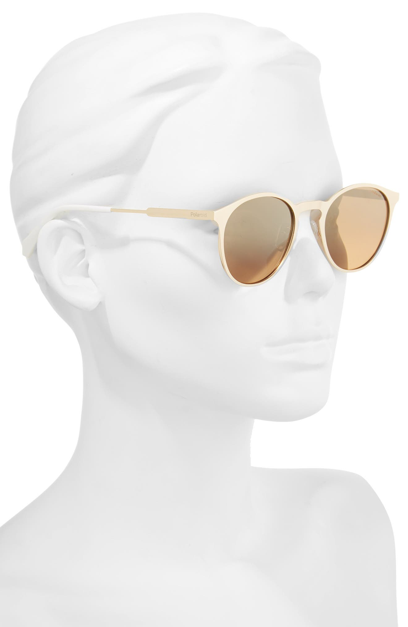 50mm Round Polarized Sunglasses,                             Alternate thumbnail 2, color,                             Gold