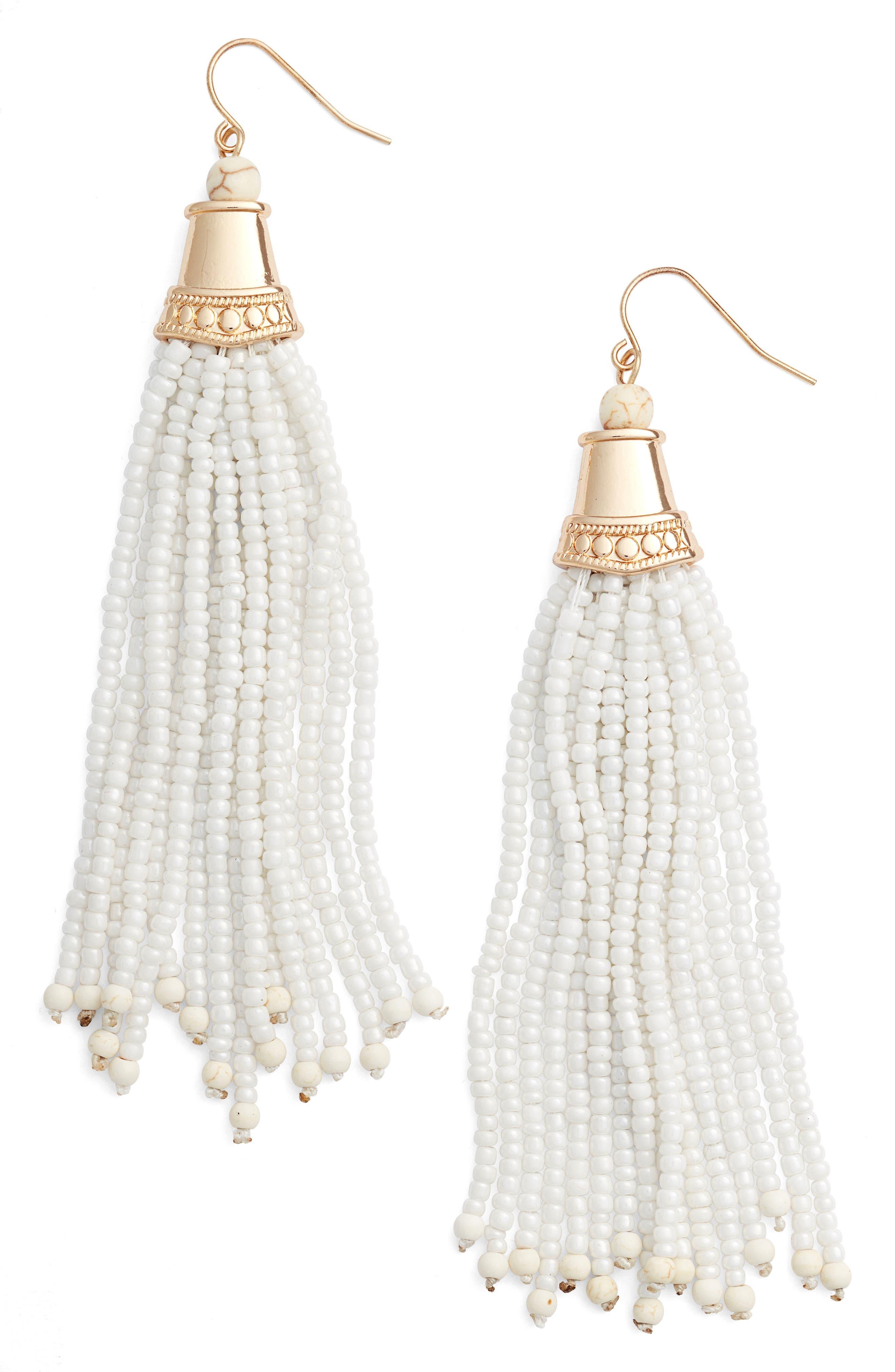ADIA KIBUR Beaded Tassel Earrings, White