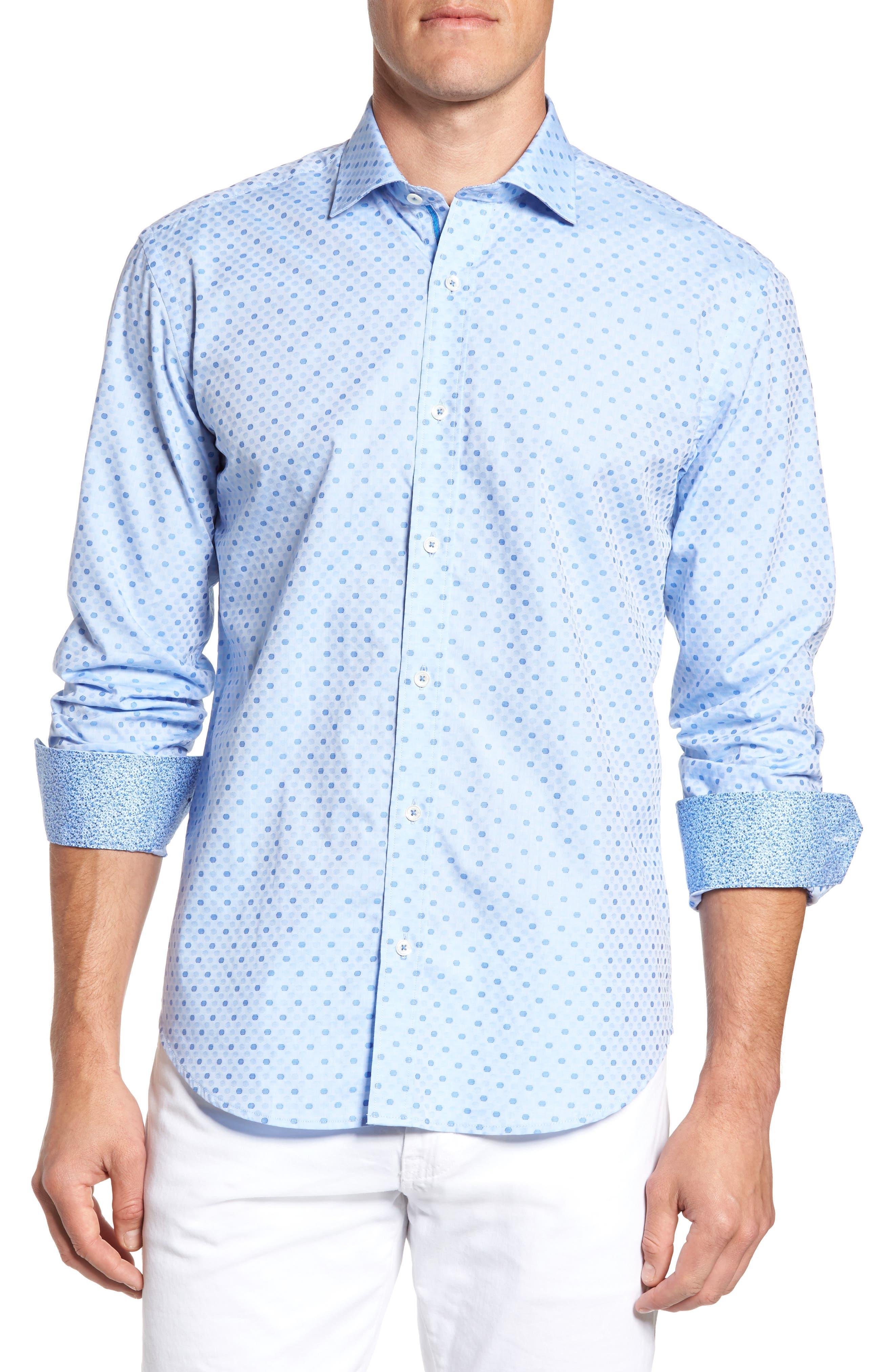Shaped Fit Dot Sport Shirt,                             Main thumbnail 1, color,                             Sky