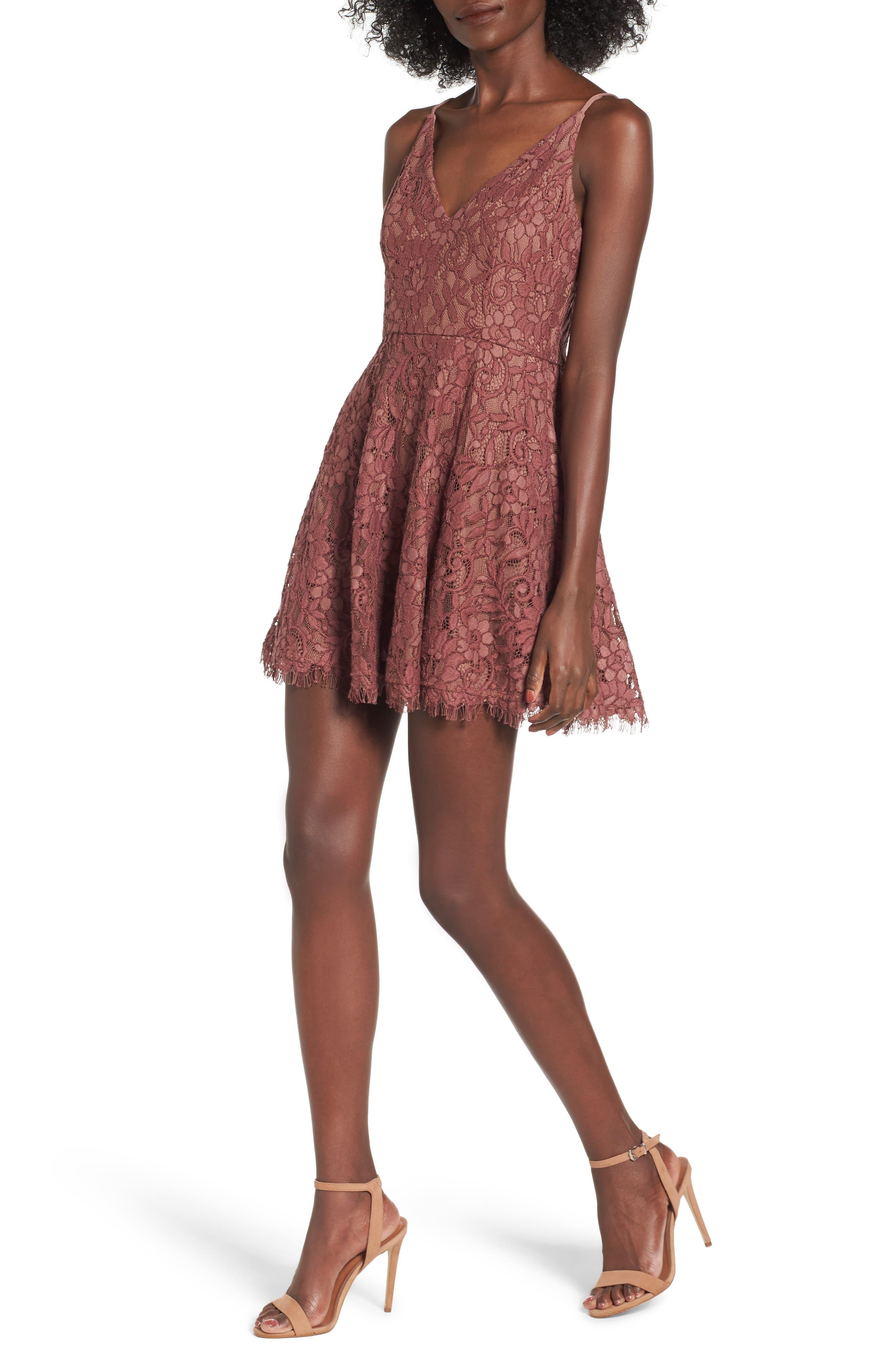 Jonas Lace Fit & Flare Dress,                         Main,                         color, Dark Brown