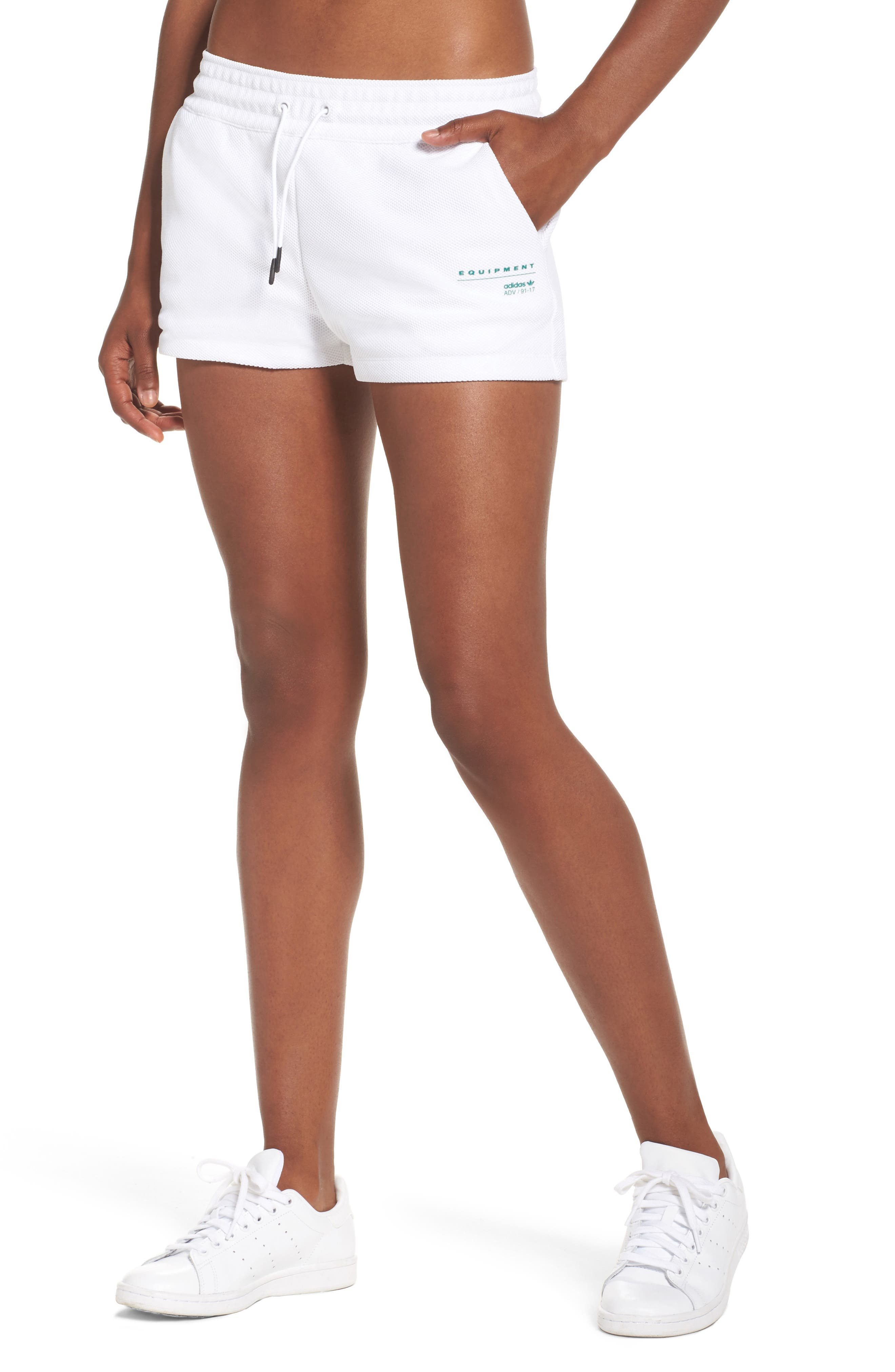 Originals EQT Piqué Shorts,                         Main,                         color, White