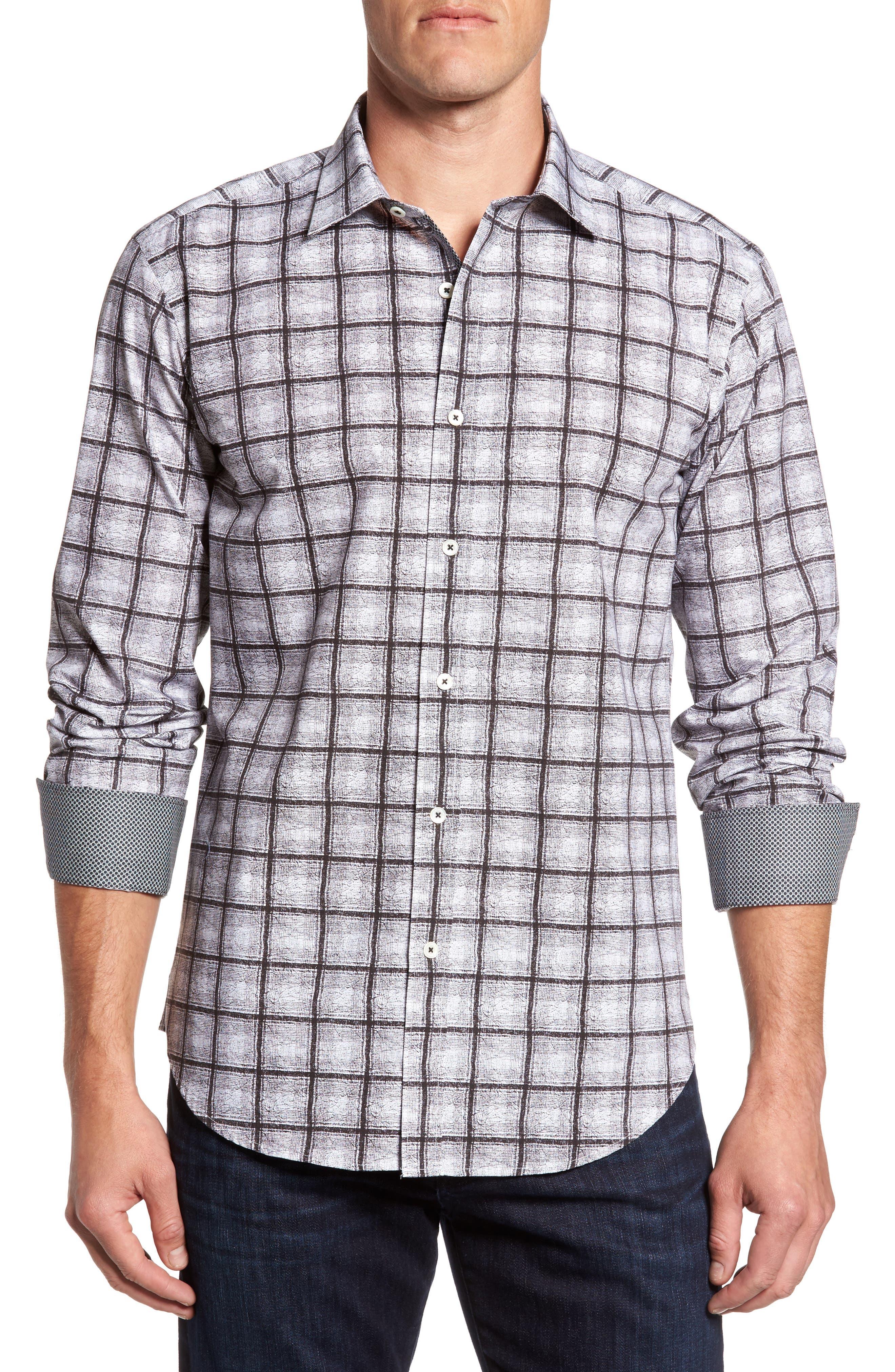 Shaped Fit Check Sport Shirt,                             Main thumbnail 1, color,                             Black