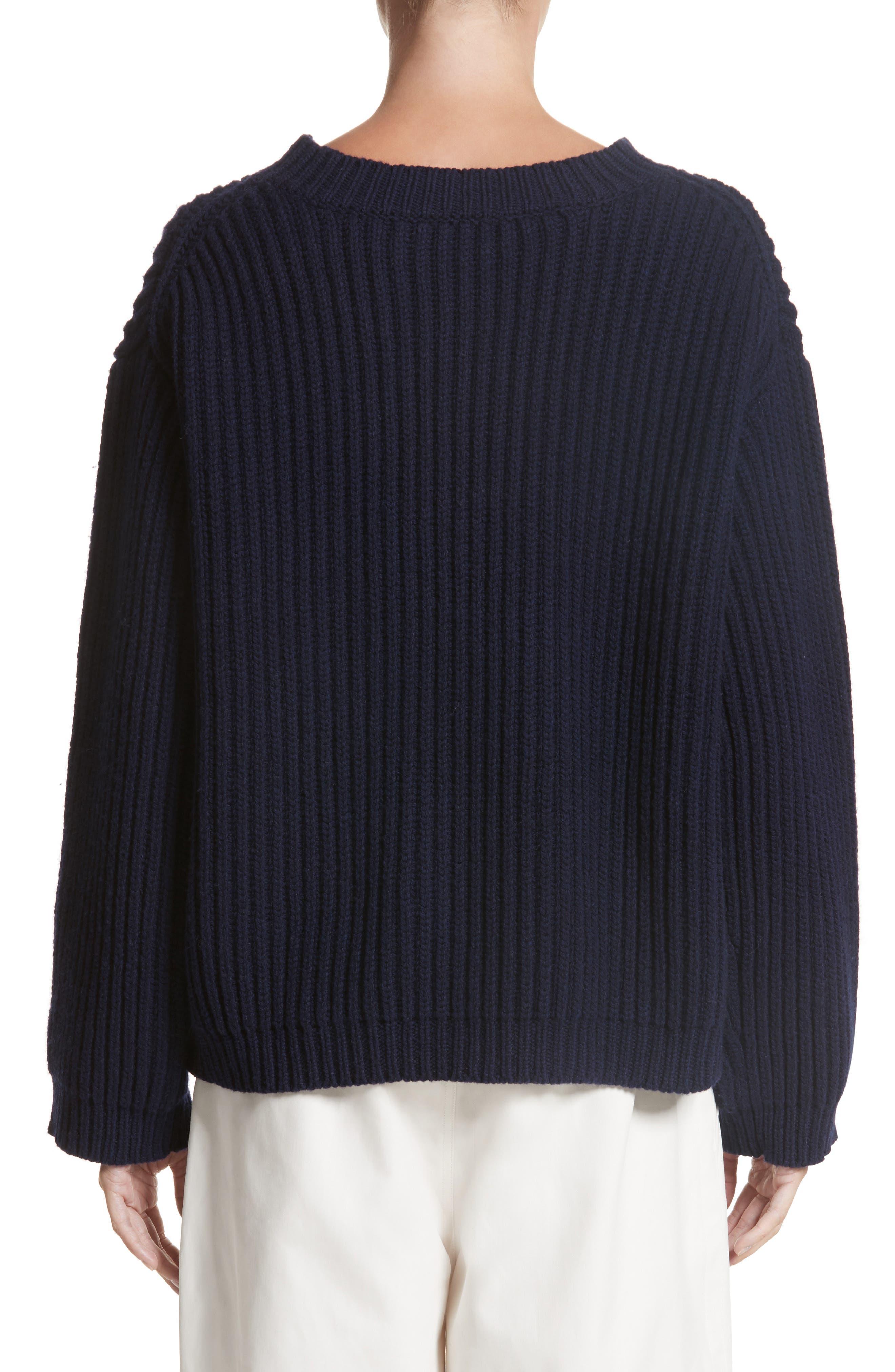 Crop Wool Sweater,                             Alternate thumbnail 2, color,                             Navy