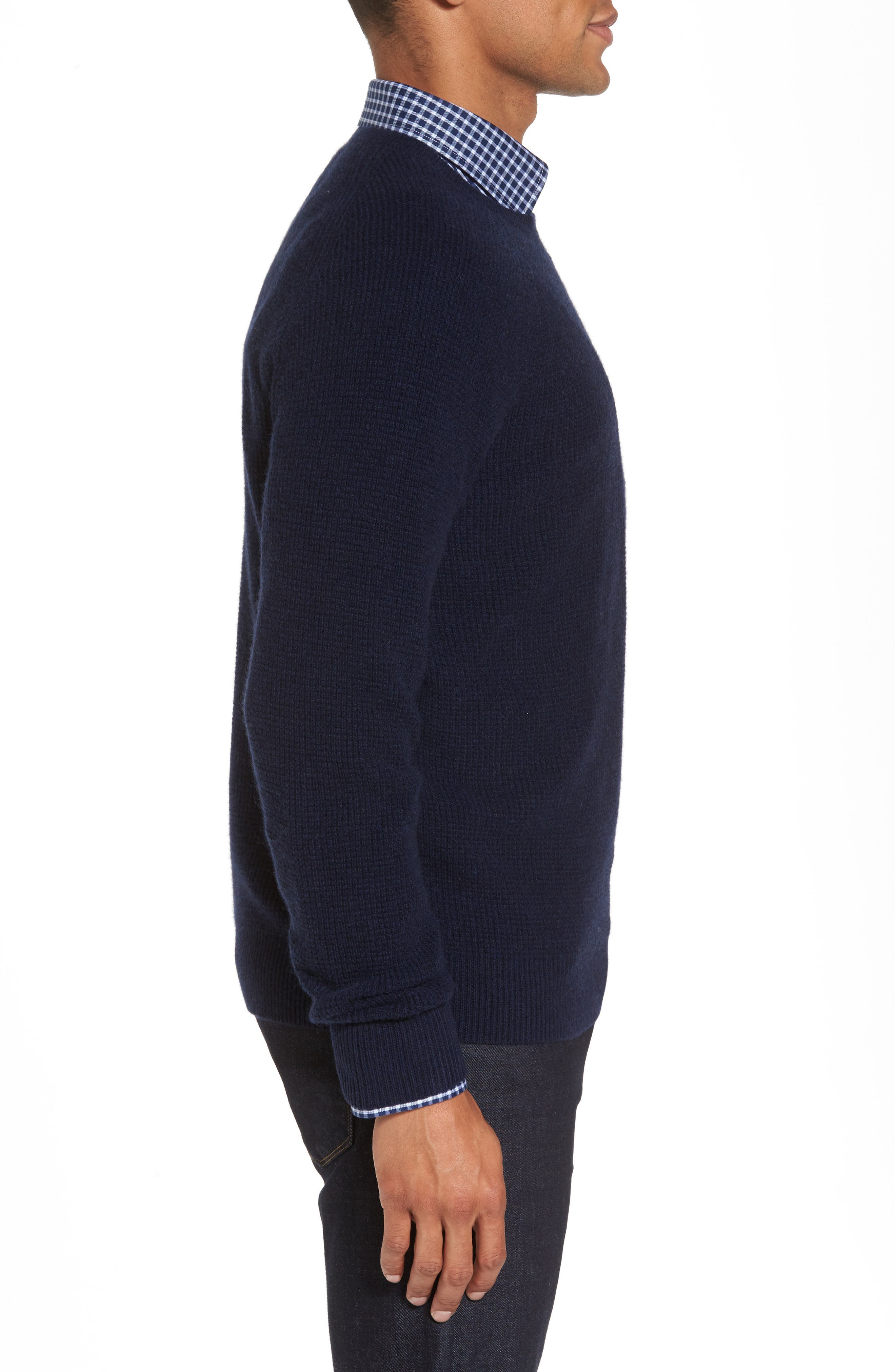 Cashmere Waffle Knit Pullover,                             Alternate thumbnail 4, color,                             Navy Charcoal