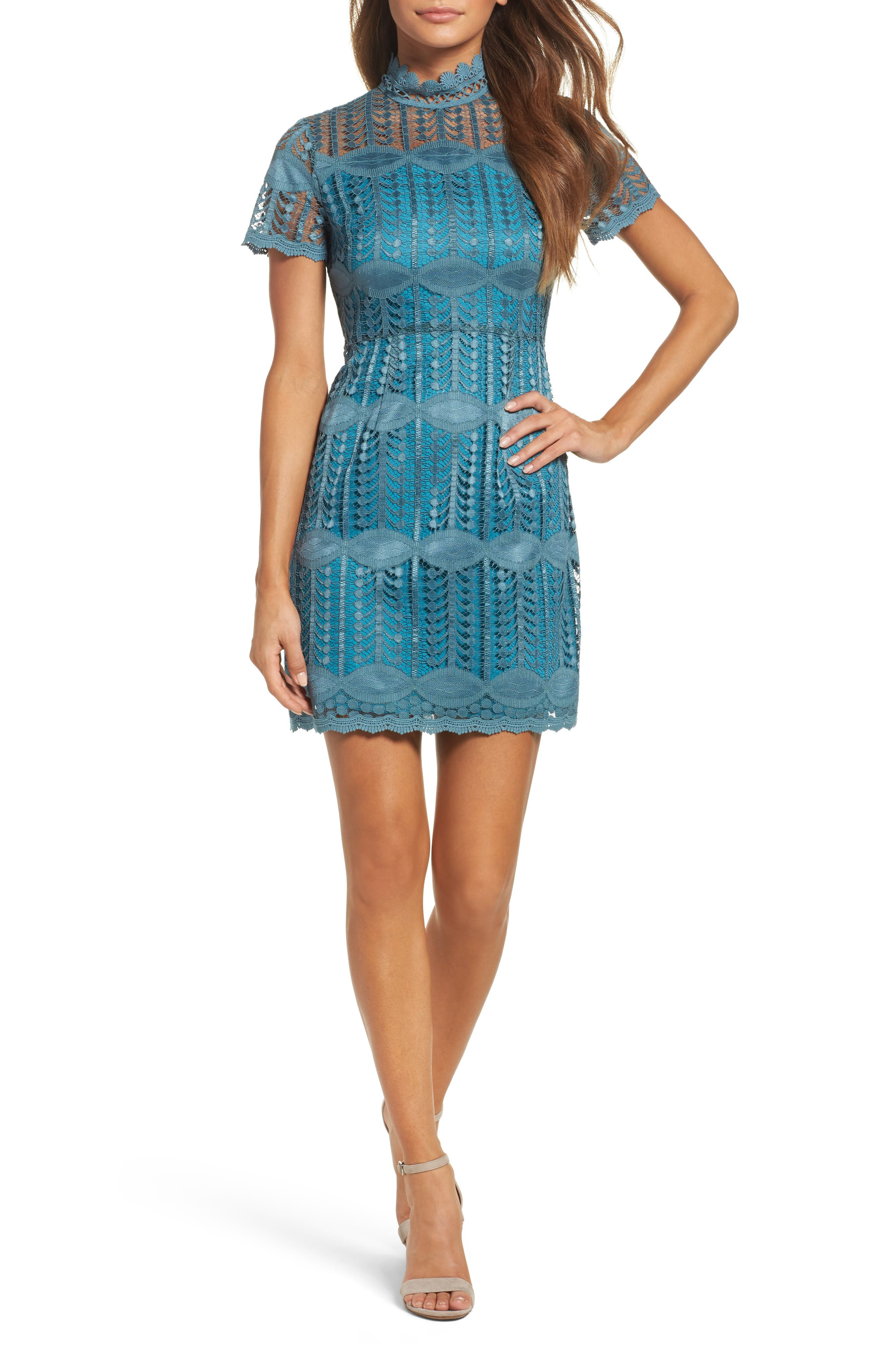 Mock Neck Lace Dress,                             Main thumbnail 1, color,                             Vintage Teal
