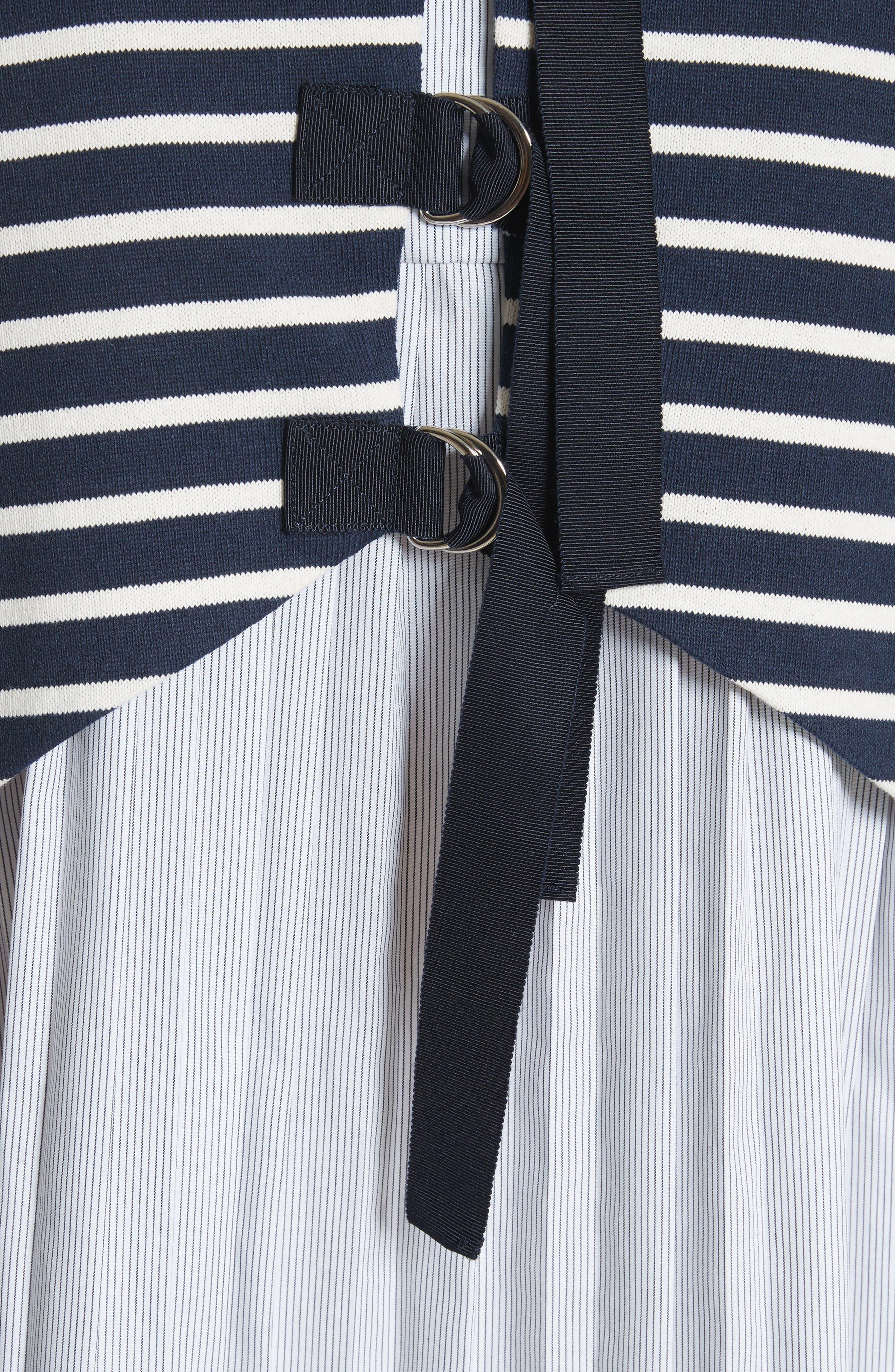 Latch Back Tunic Dress,                             Alternate thumbnail 5, color,                             Navy/ Cream Multi