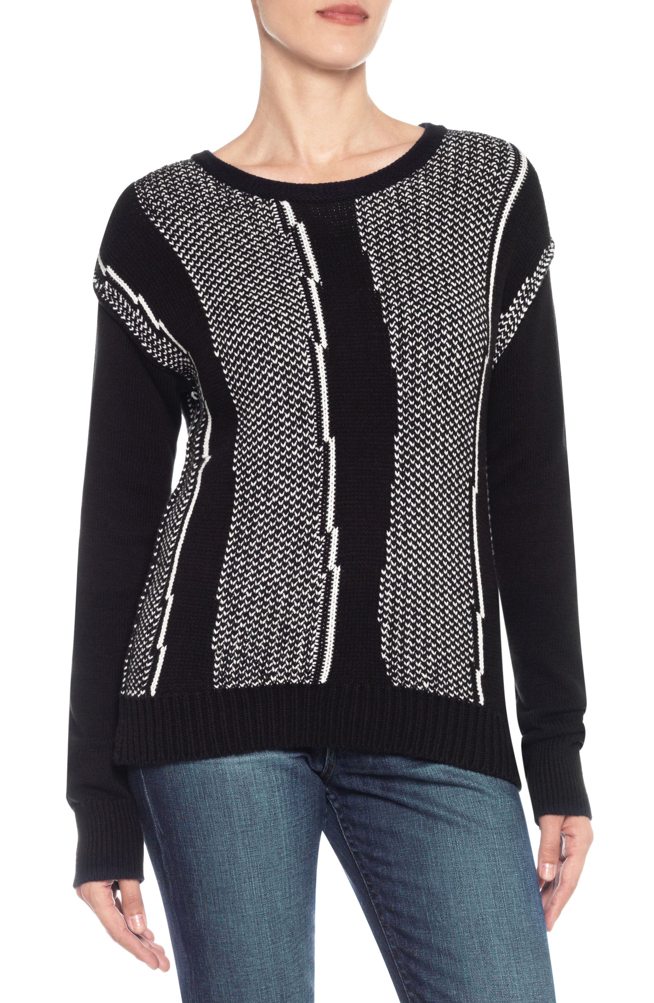 Keegan Sweater,                         Main,                         color, Black/ White
