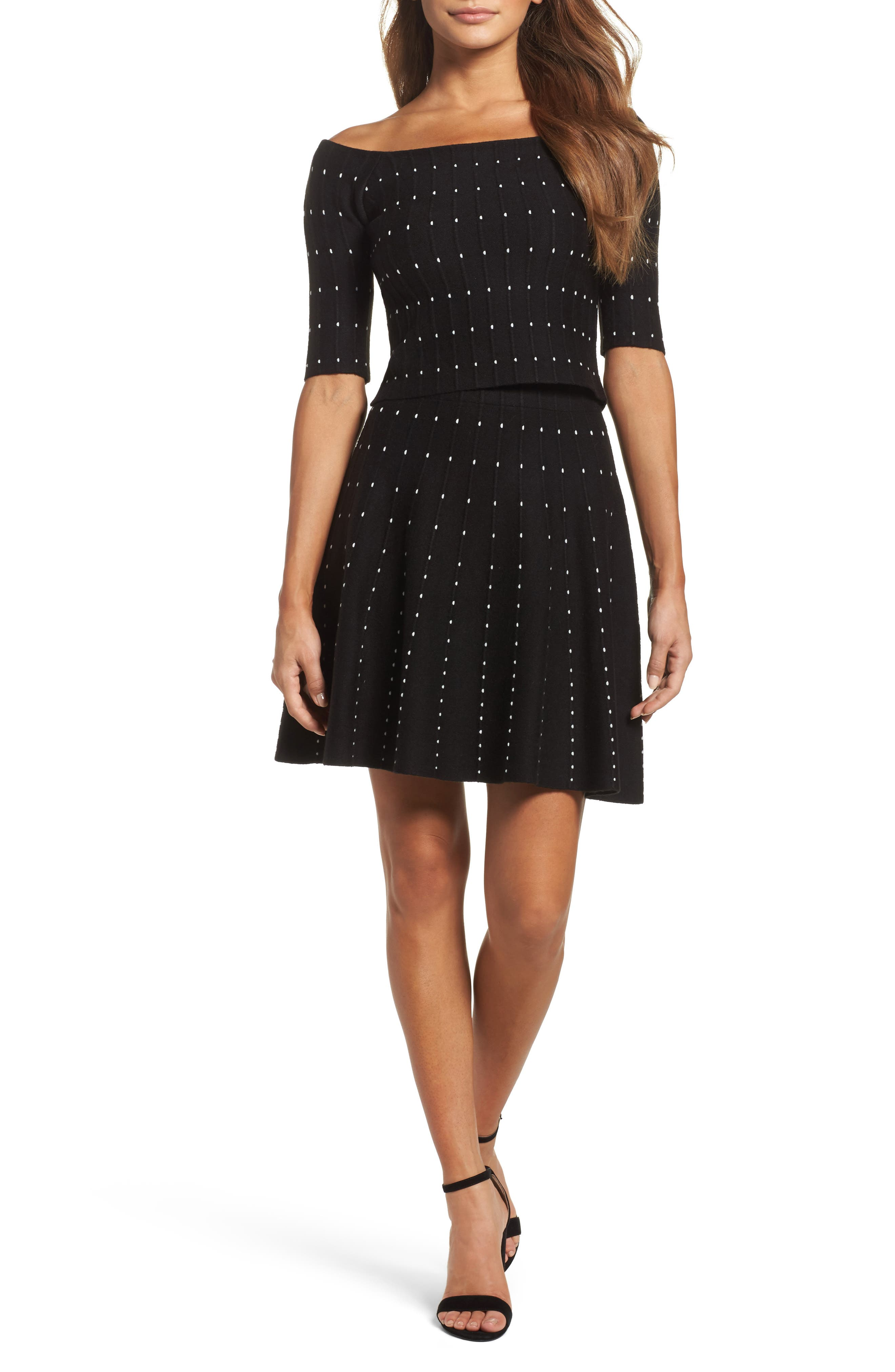 Two-Piece Dress,                         Main,                         color, Black Pin Dot