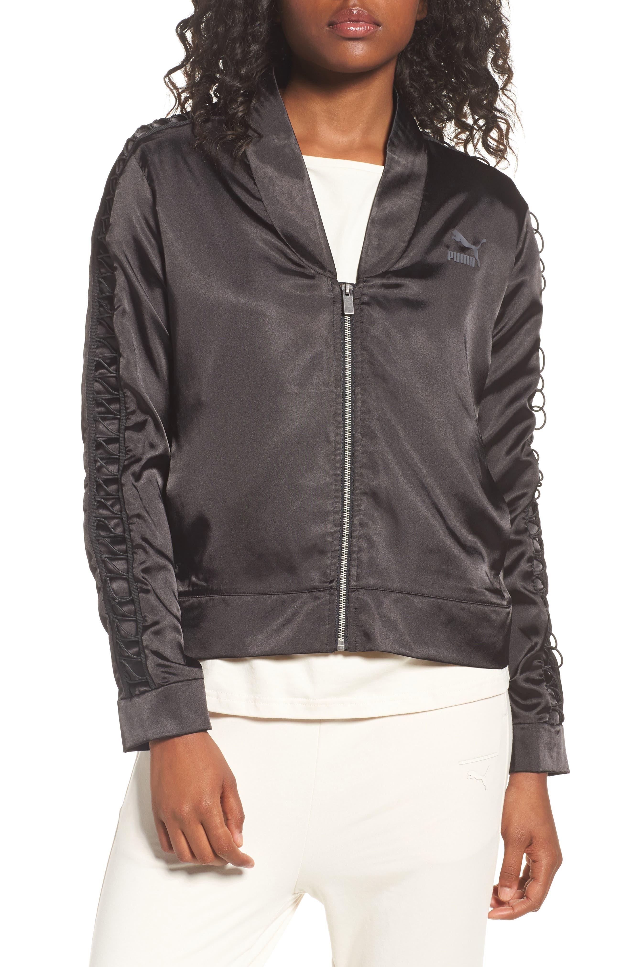 Satin Track Jacket,                             Main thumbnail 1, color,                             Puma Black