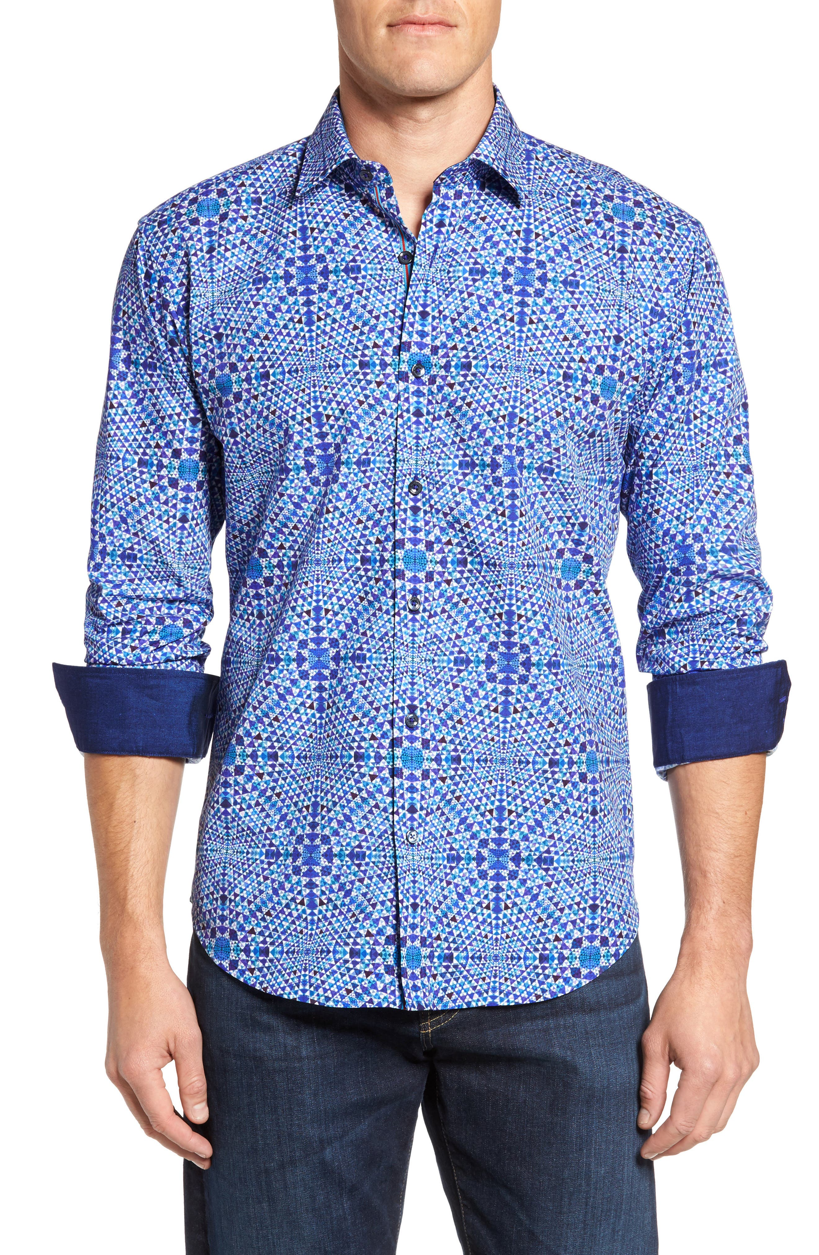 Shaped Fit Geo Print Sport Shirt,                         Main,                         color, Orchid