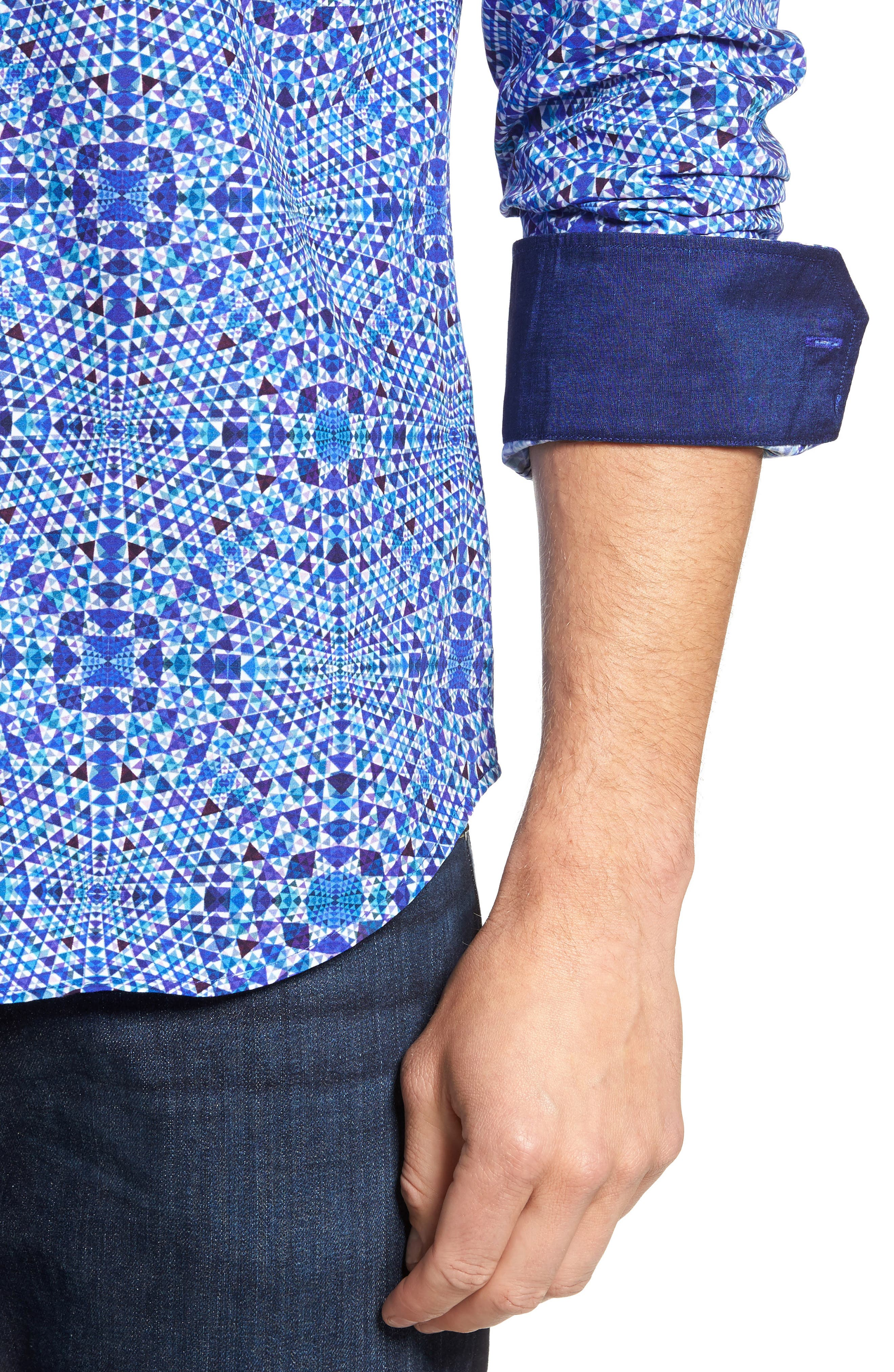 Shaped Fit Geo Print Sport Shirt,                             Alternate thumbnail 5, color,                             Orchid