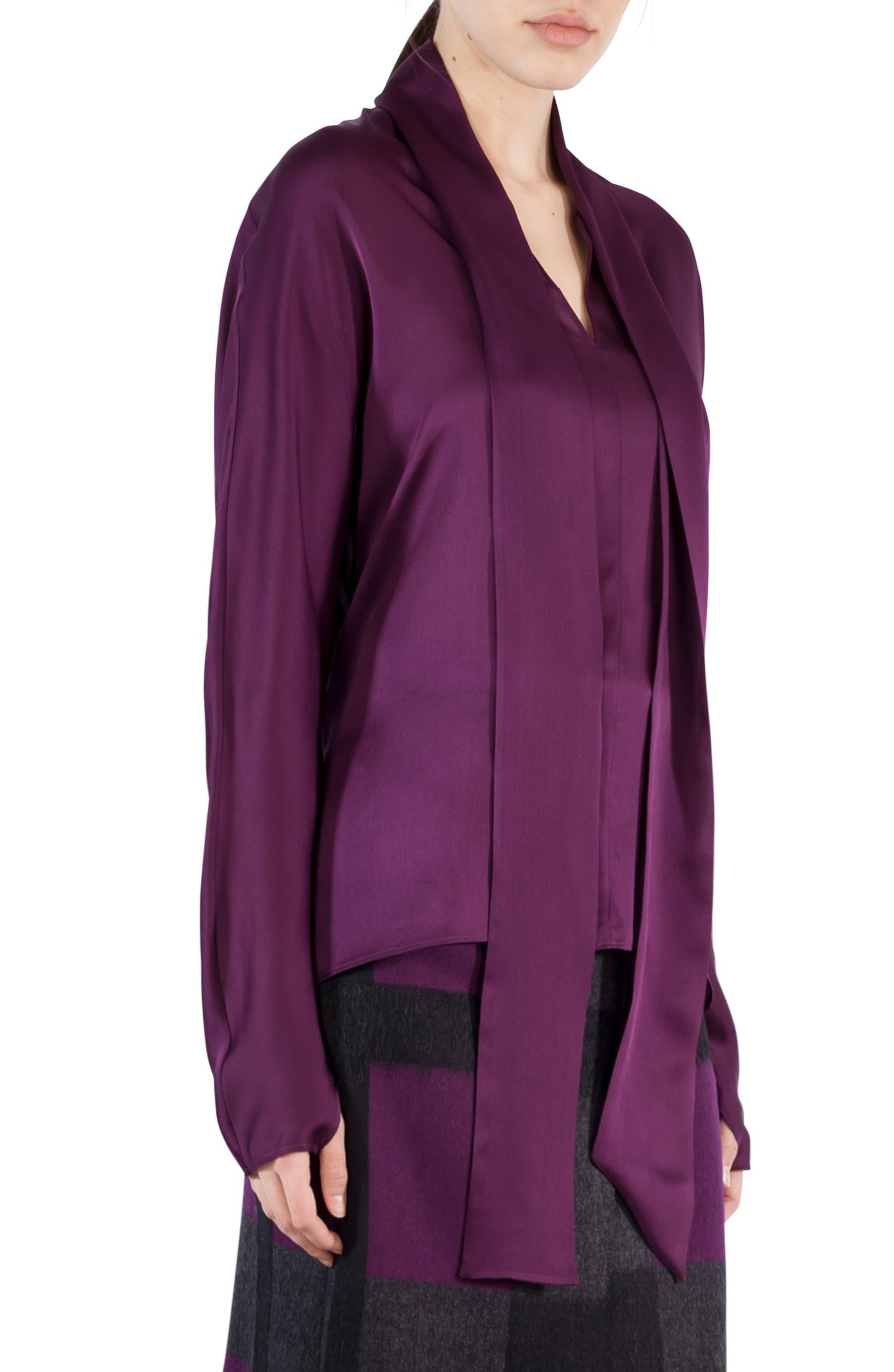 Tie Neck Silk Crepe Blouse,                         Main,                         color, Purple