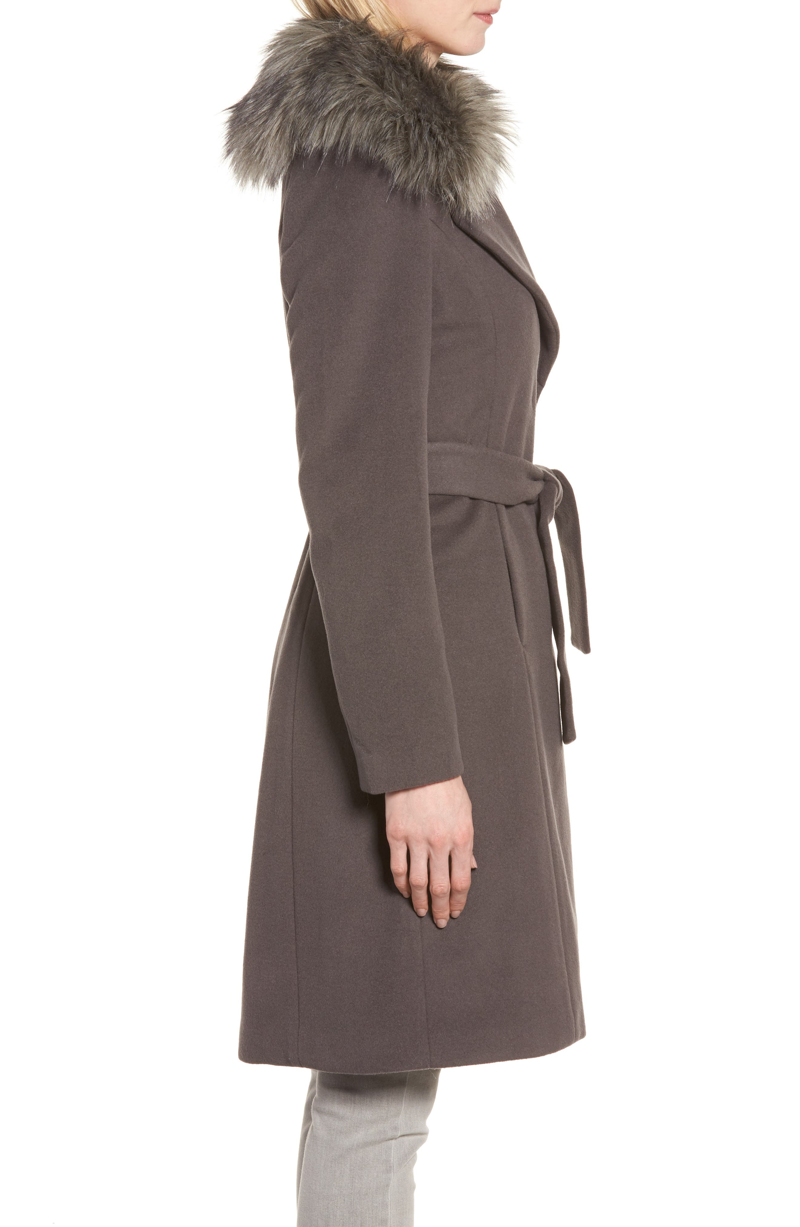 Fiona Wrap Coat with Removable Faux Fur Collar,                             Alternate thumbnail 3, color,                             Moon Grey