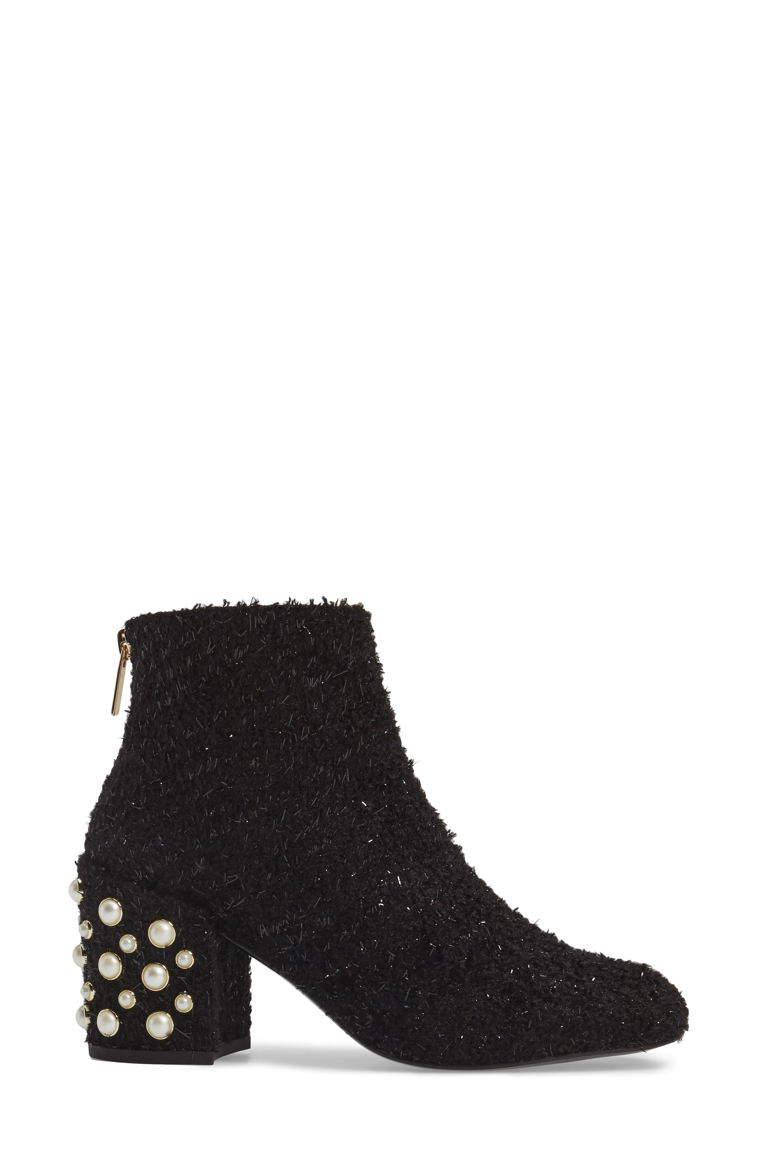 Pearlbacari Bootie,                             Alternate thumbnail 3, color,                             Black Boucle