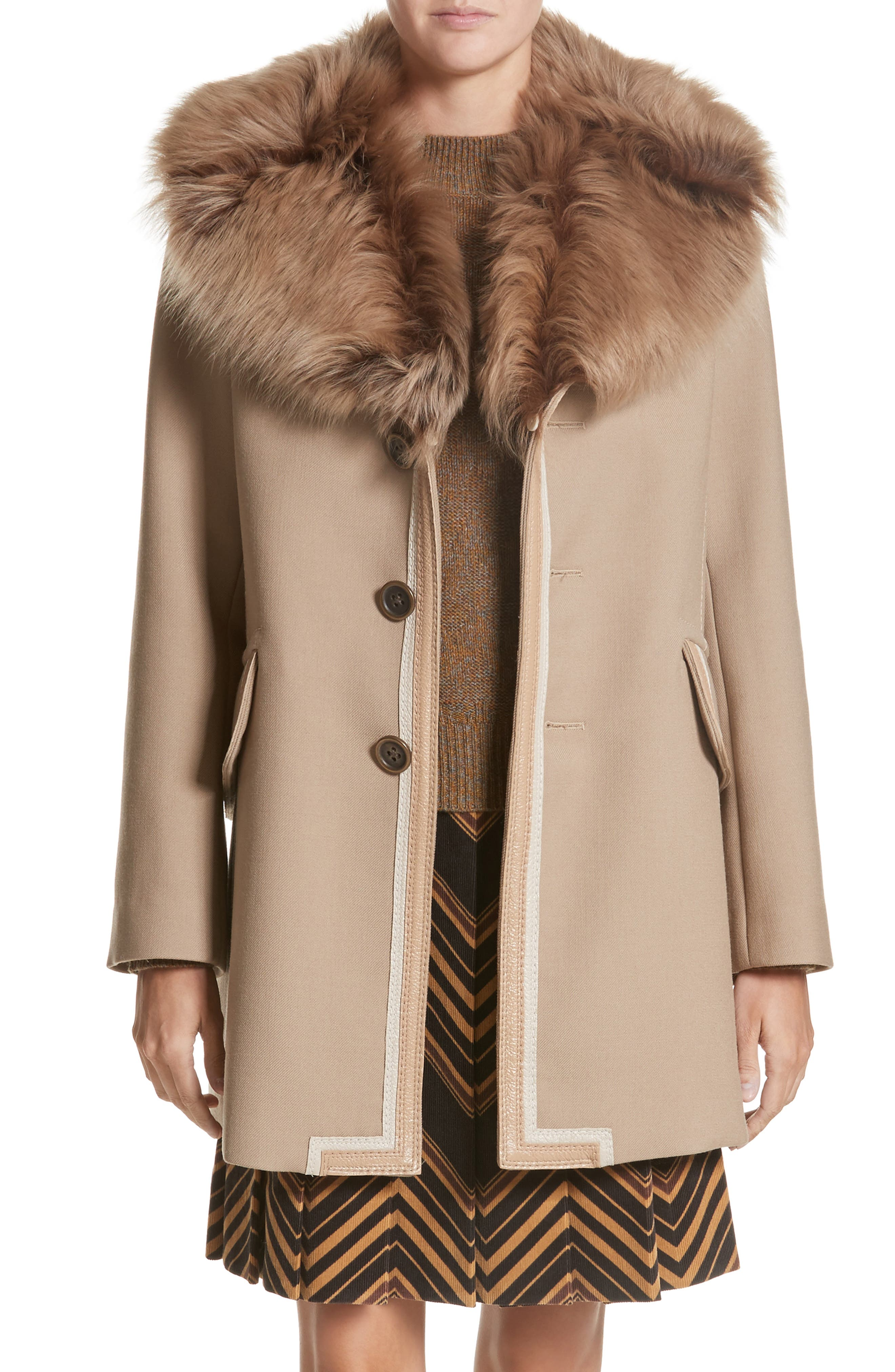 Double Face Wool Blend Coat with Removable Genuine Lamb Fur Collar,                         Main,                         color, Beige