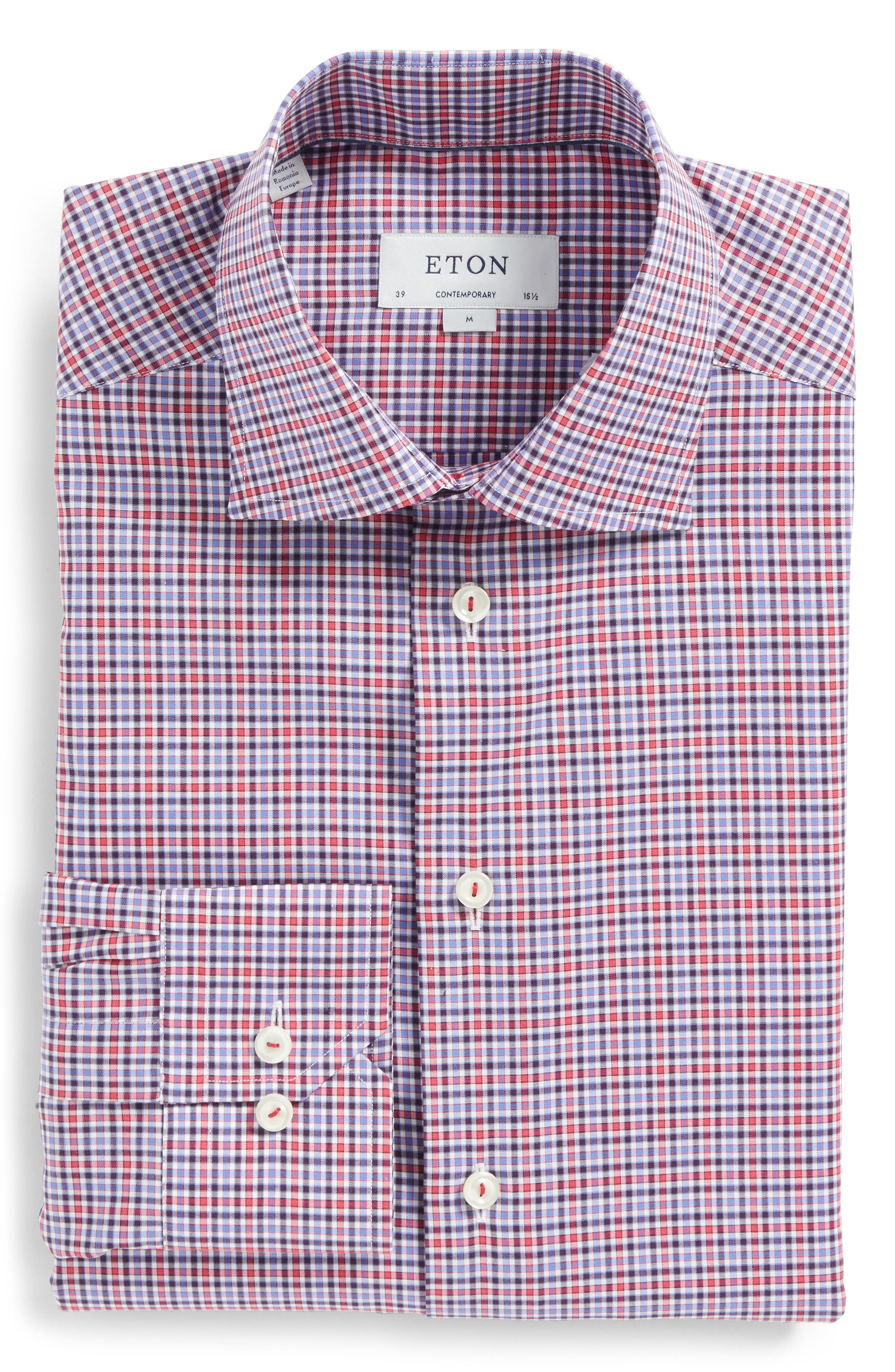 Contemporary Fit Check Dress Shirt,                             Main thumbnail 1, color,                             Pink/ Red