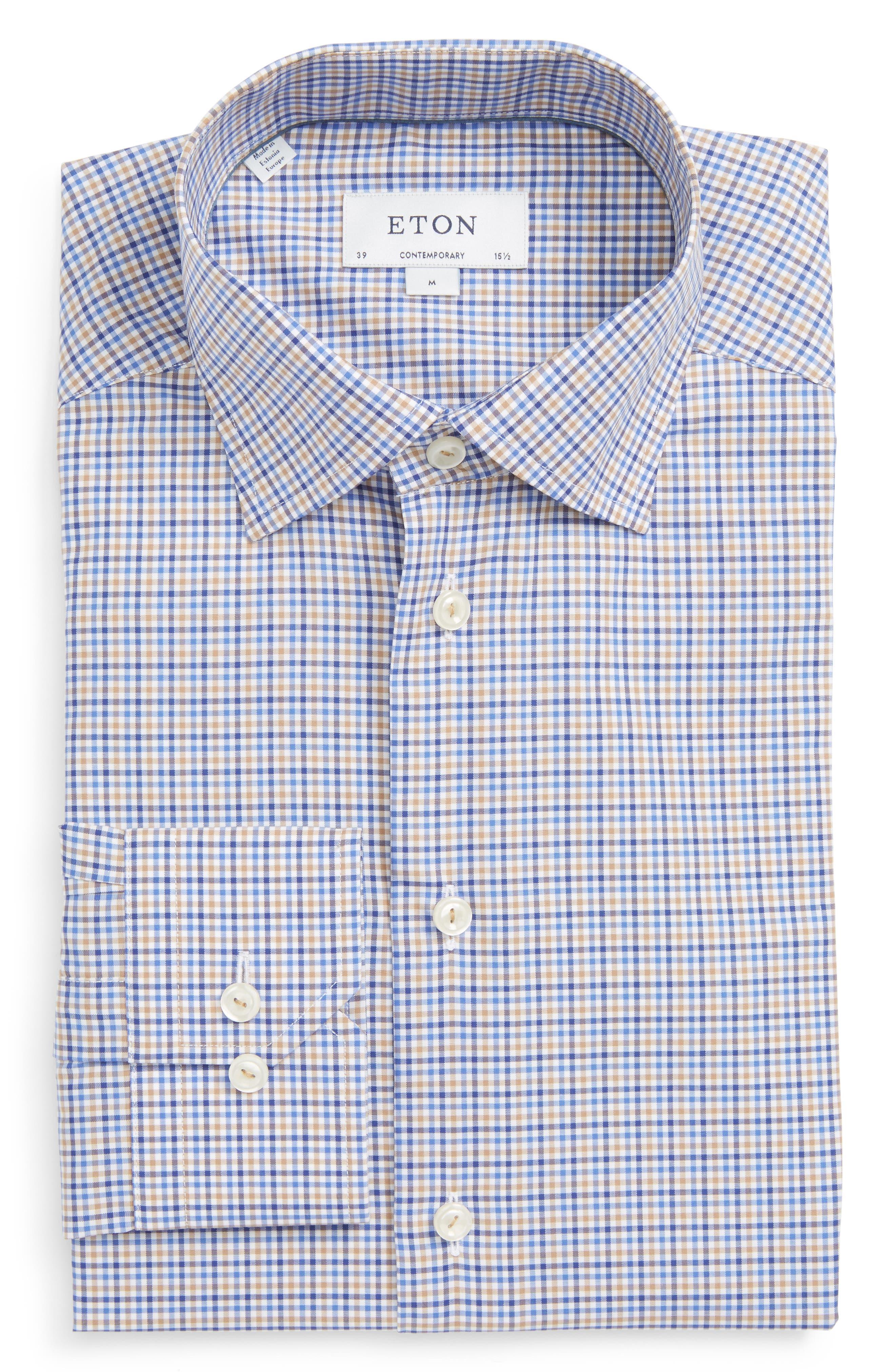 Contemporary Fit Check Dress Shirt,                         Main,                         color, Blue/ Tan
