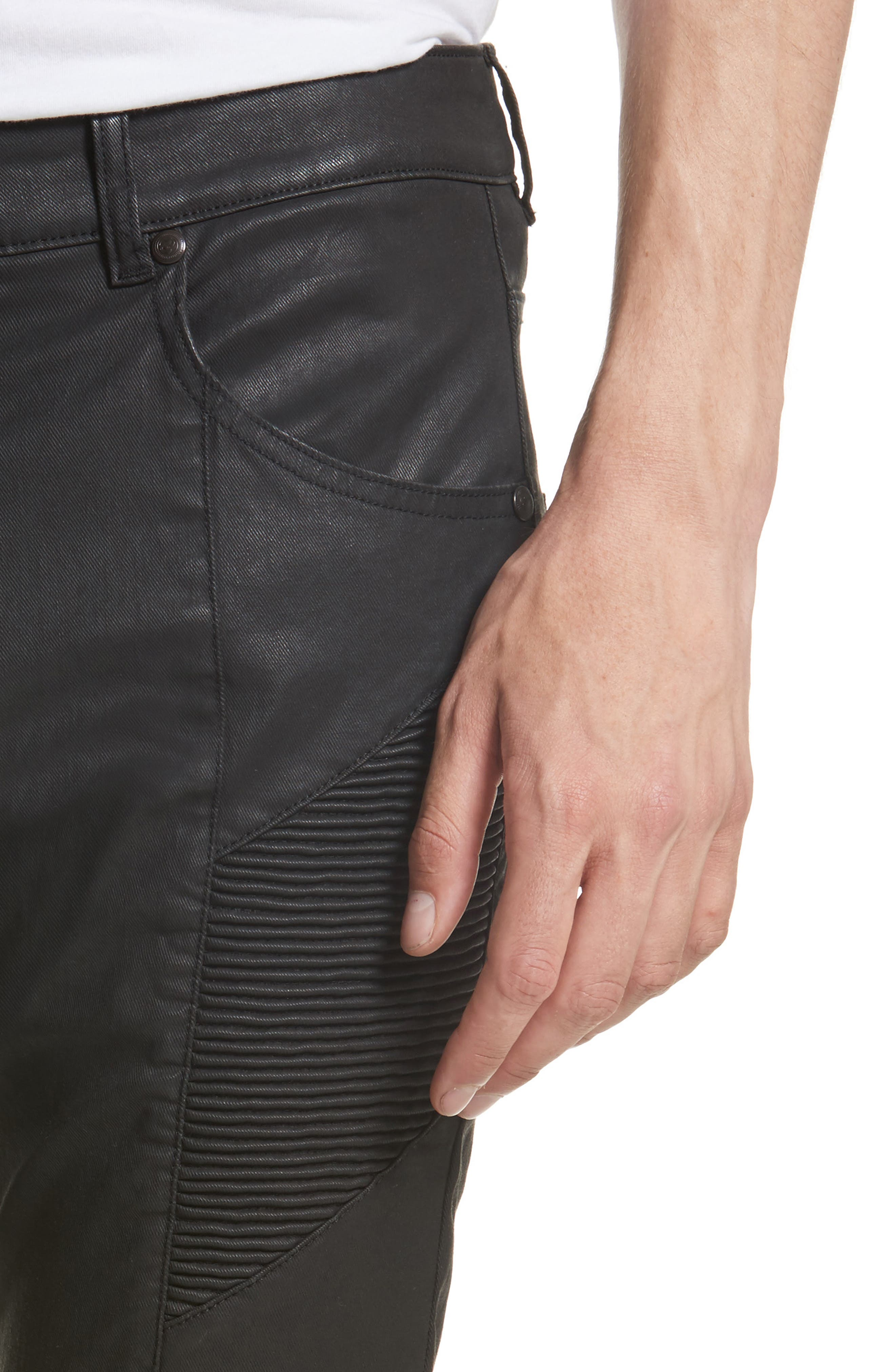 Alternate Image 4  - Pierre Balmain Core Coated Moto Jeans