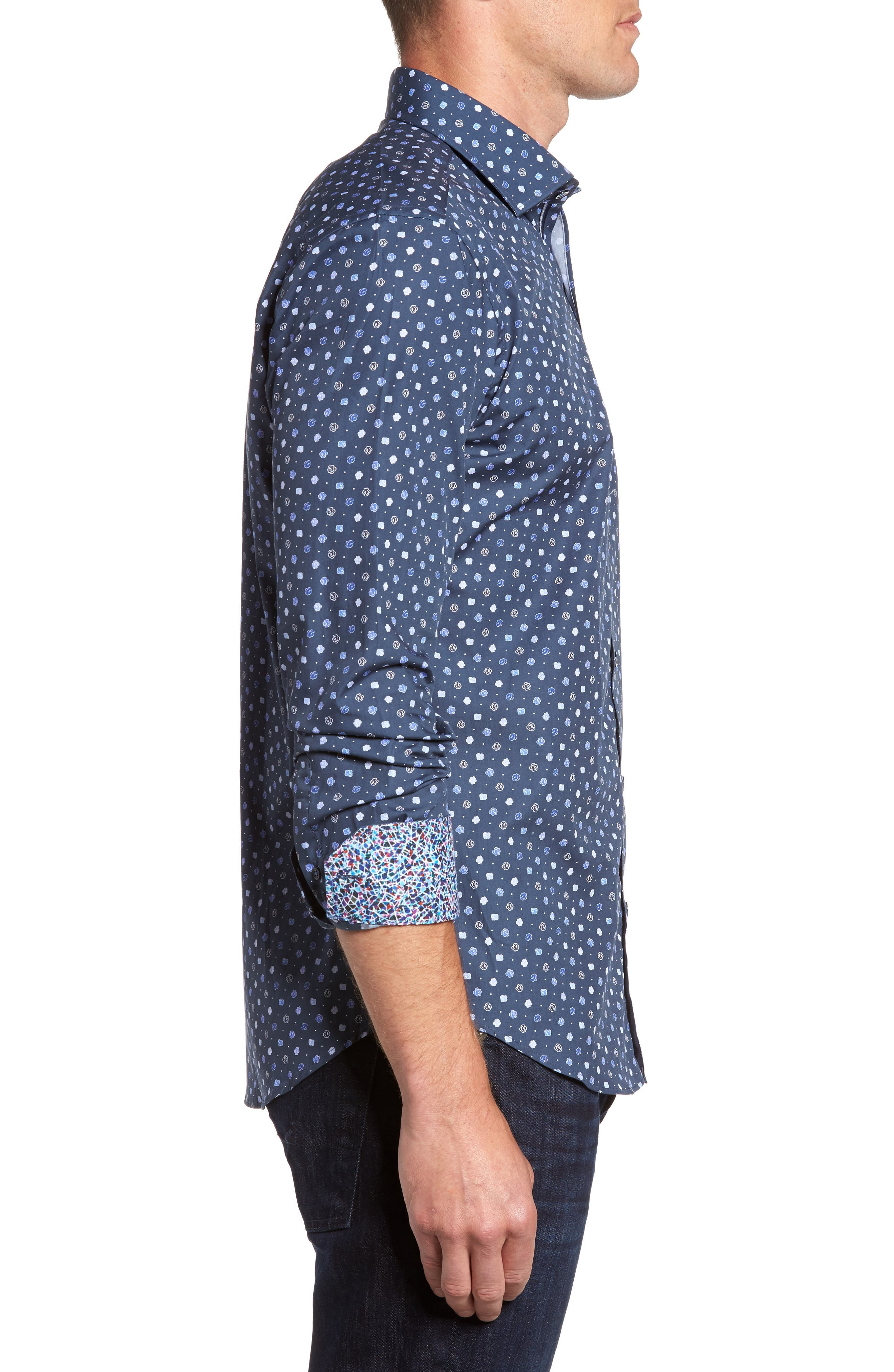 Shaped Fit Flower Print Sport Shirt,                             Alternate thumbnail 3, color,                             Navy