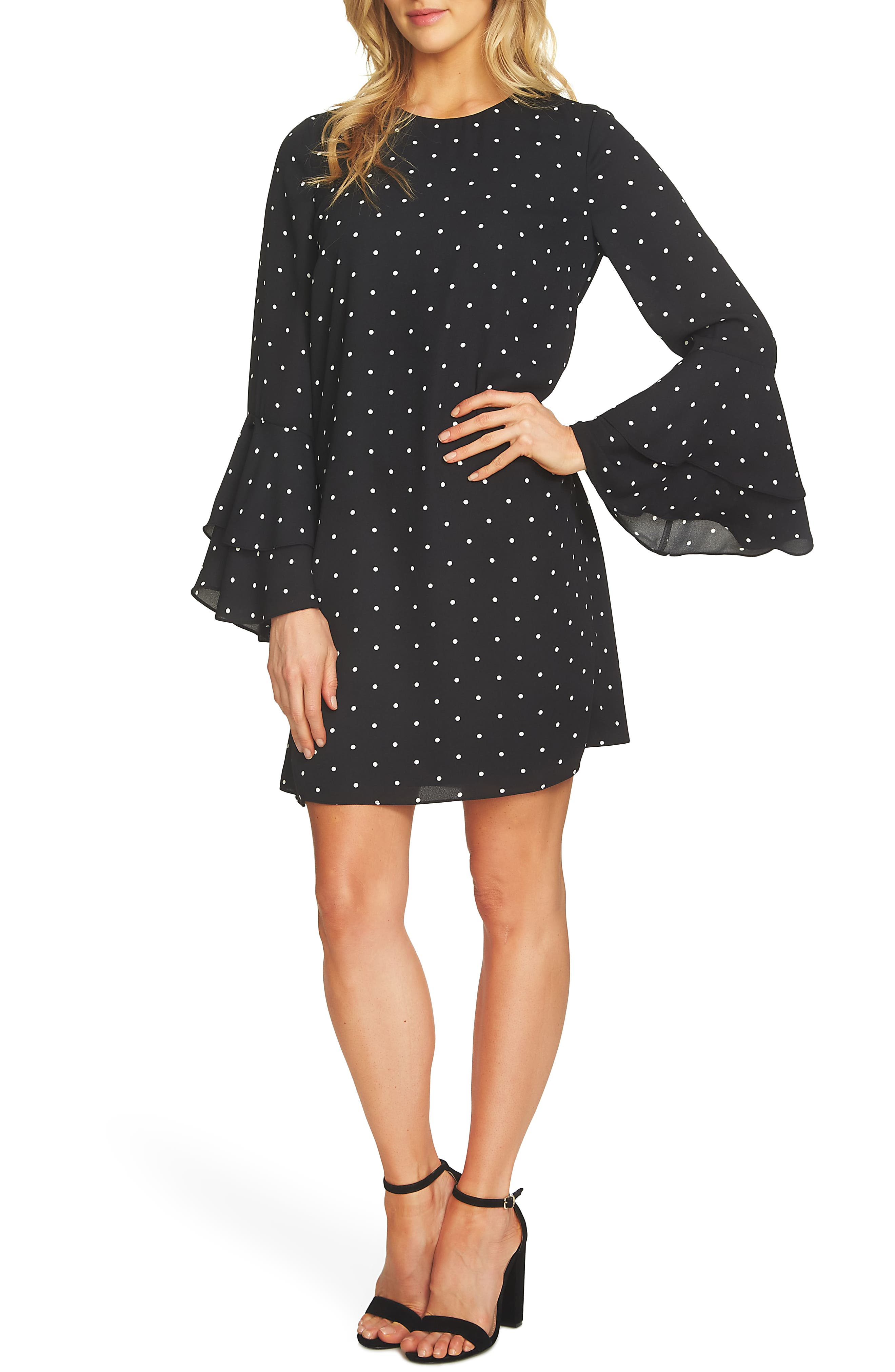 Bell Sleeve Polka Dot Dress,                         Main,                         color, Rich Black