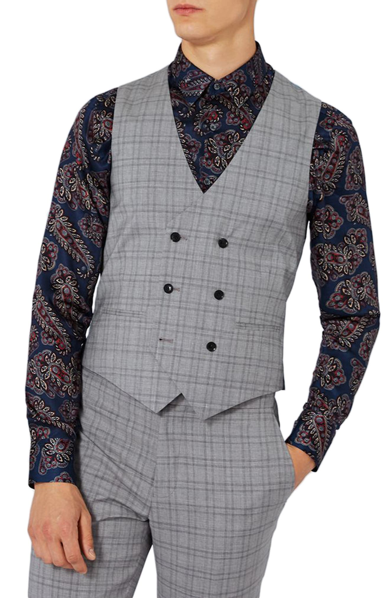 Charlie Casely-Hayford x Topman Skinny Fit Check Suiting Vest