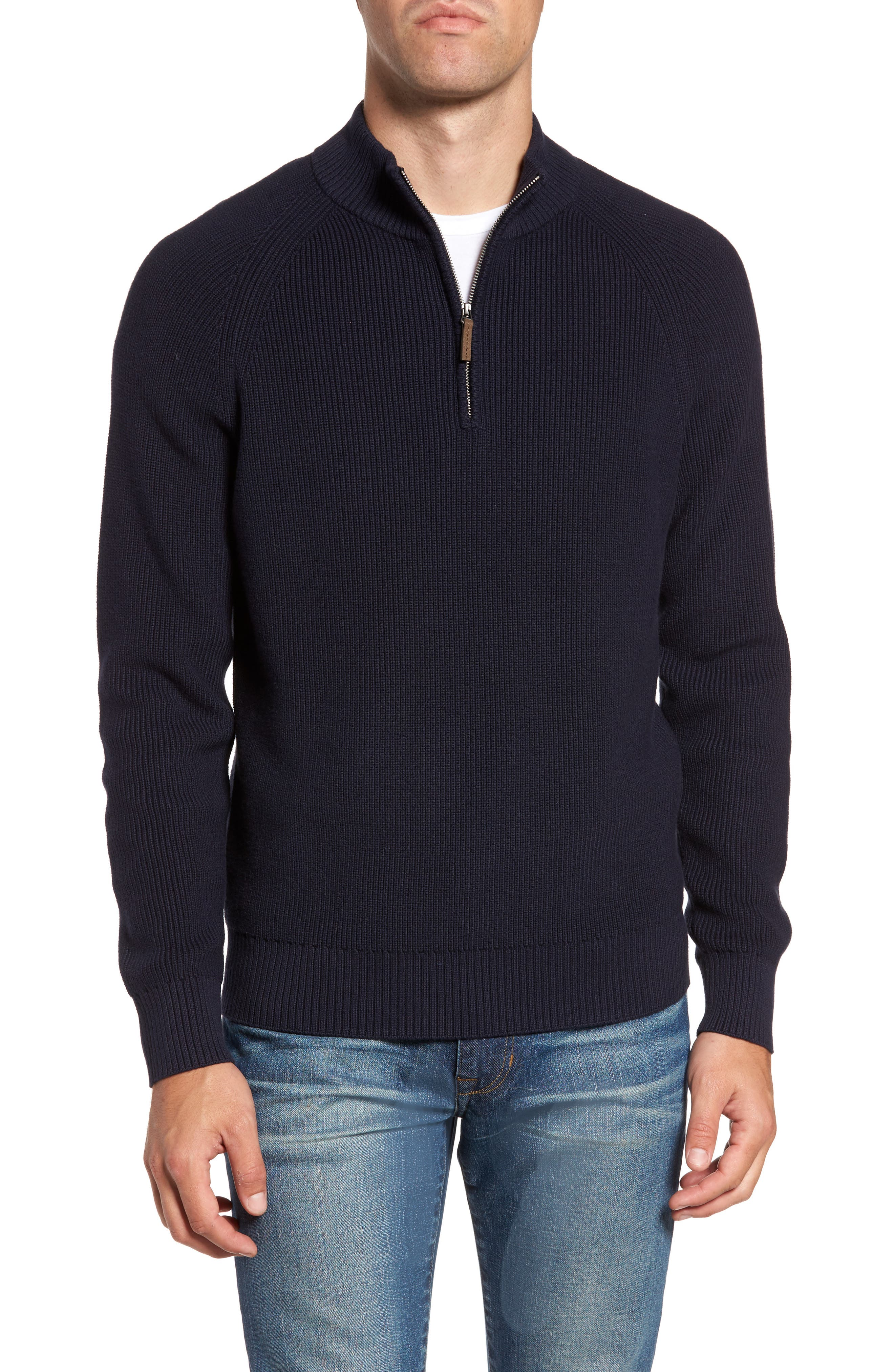 Ribbed Quarter Zip Sweater,                             Main thumbnail 1, color,                             Navy Night