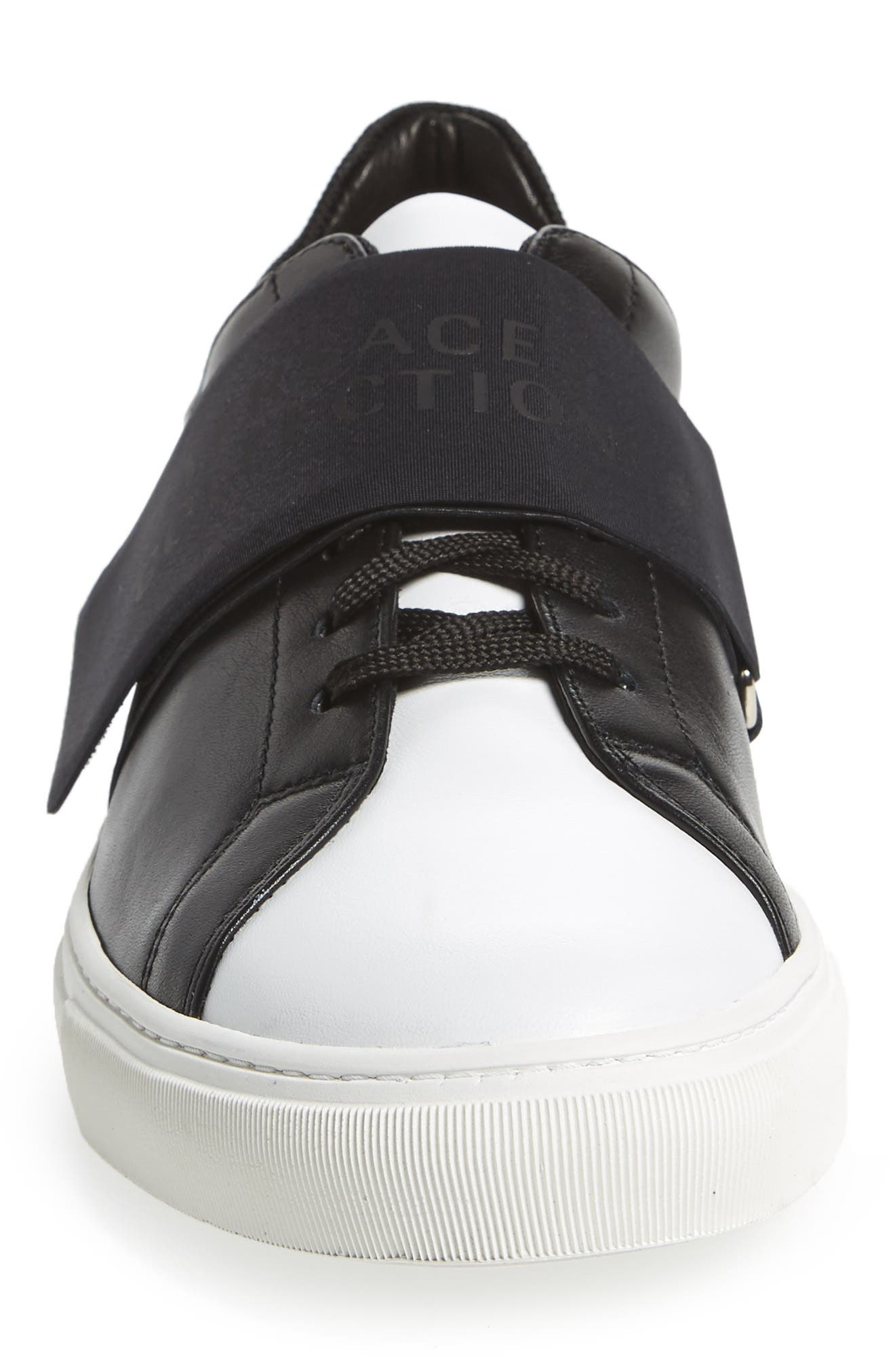 Strap Sneaker,                             Alternate thumbnail 4, color,                             Bianco/ Nero Leather
