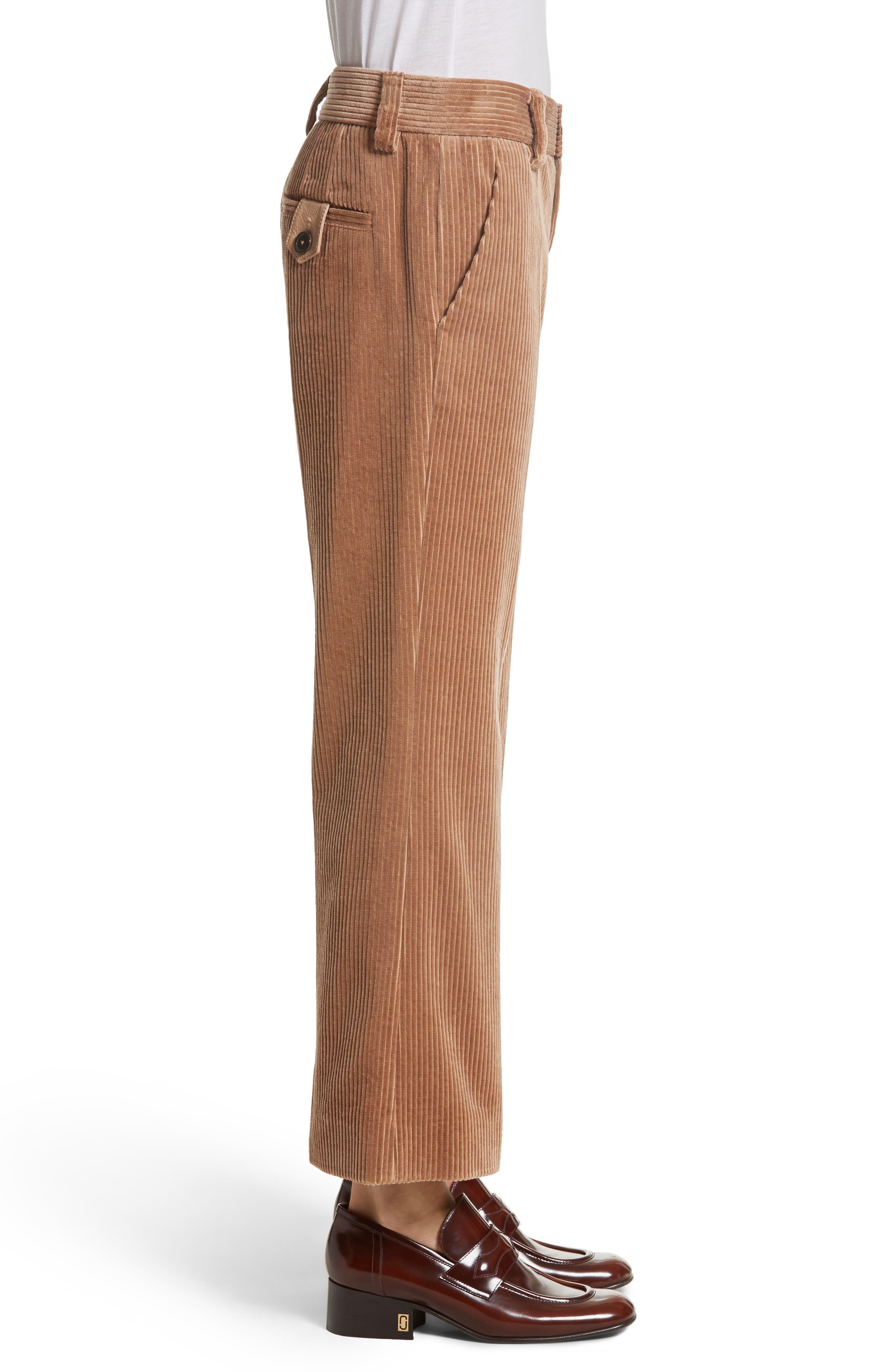 Corduroy Wide Leg Crop Pants,                             Alternate thumbnail 3, color,                             Sand