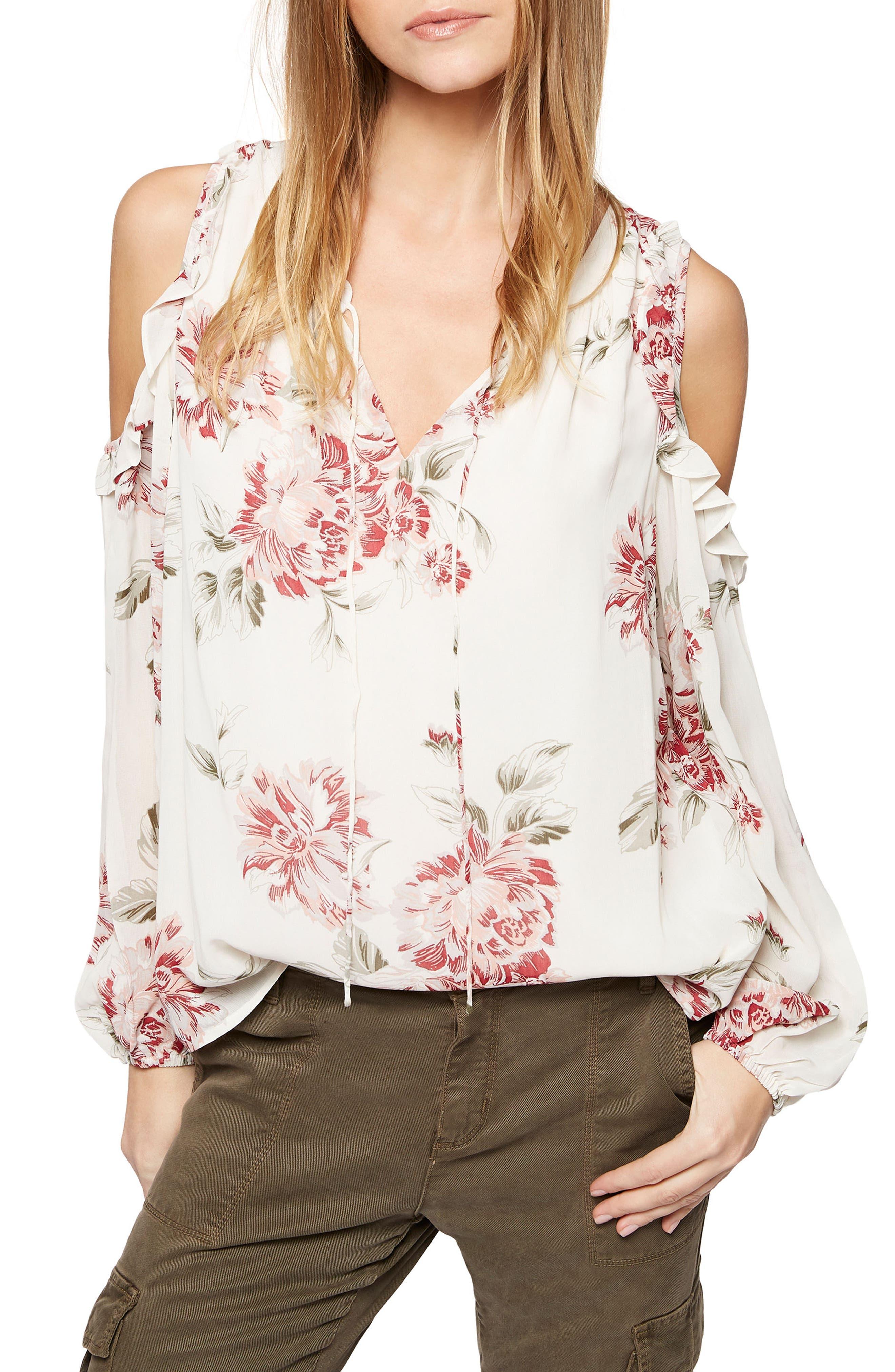 Blaire Cold Shoulder Top,                         Main,                         color, Wild Roses