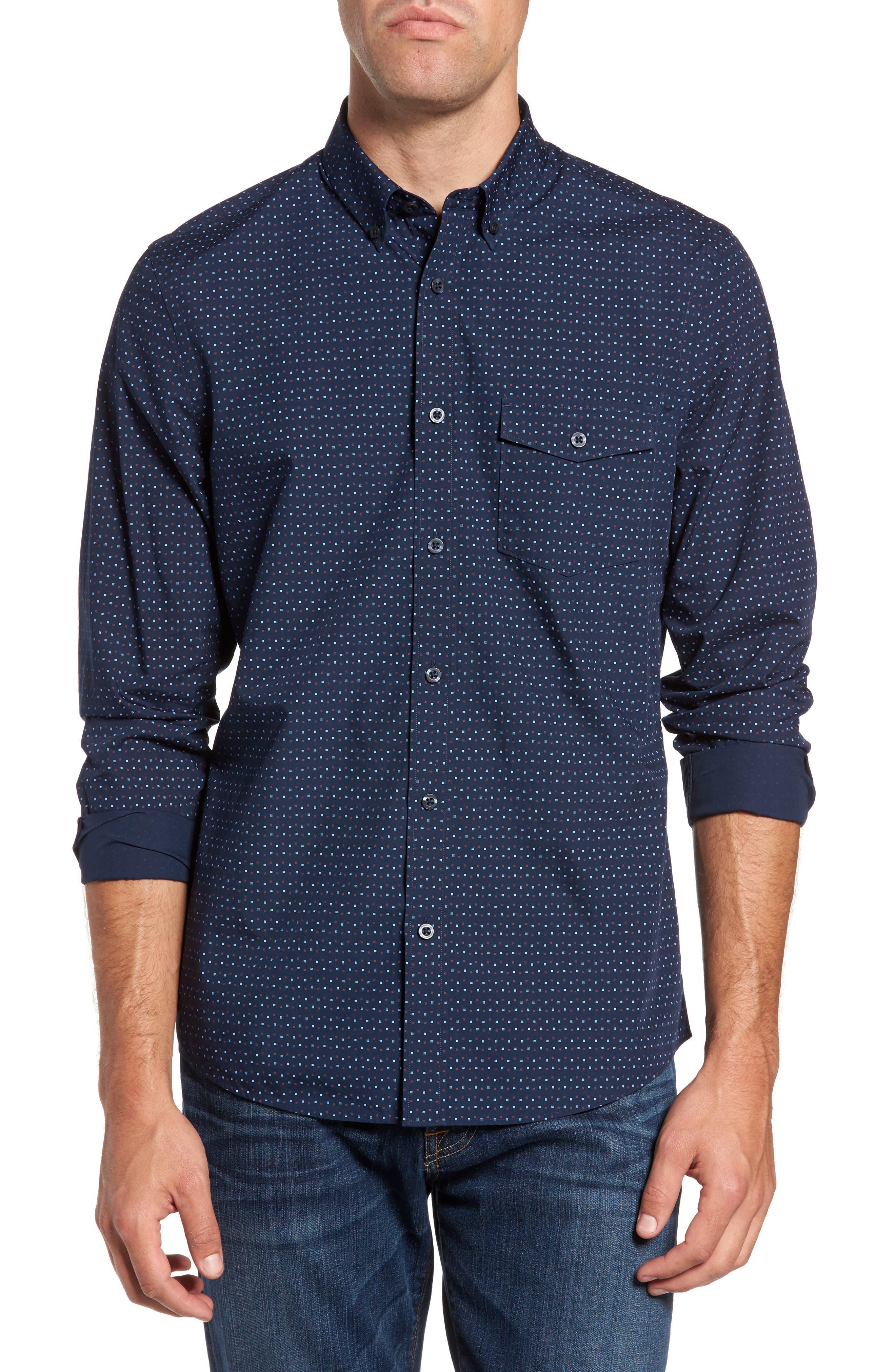 Main Image - Nordstrom Men's Shop Ivy Trim Fit Print Sport Shirt (Tall)