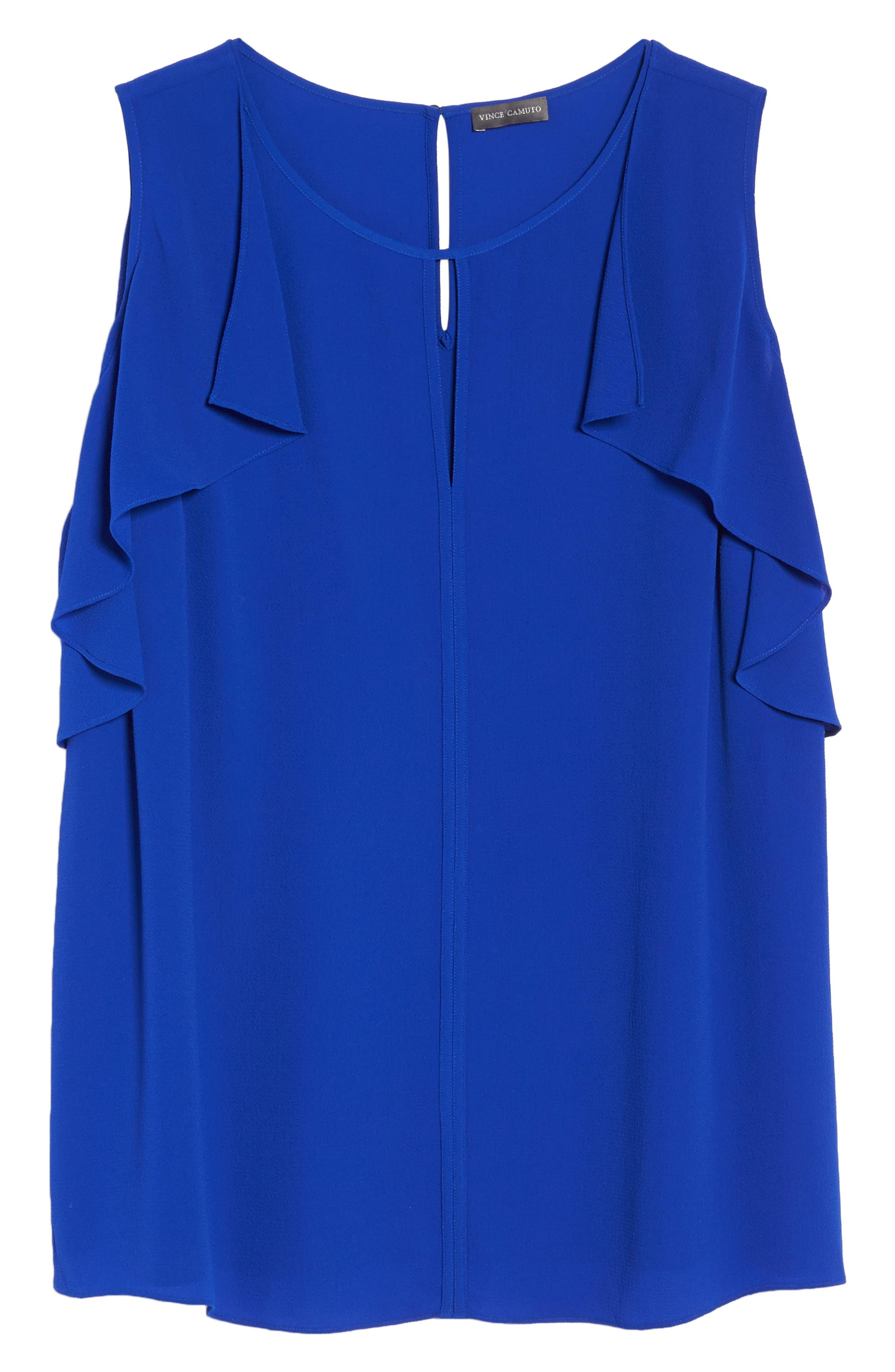 Flutter Sleeve Cold Shoulder Blouse,                             Alternate thumbnail 6, color,                             Vivid Blue