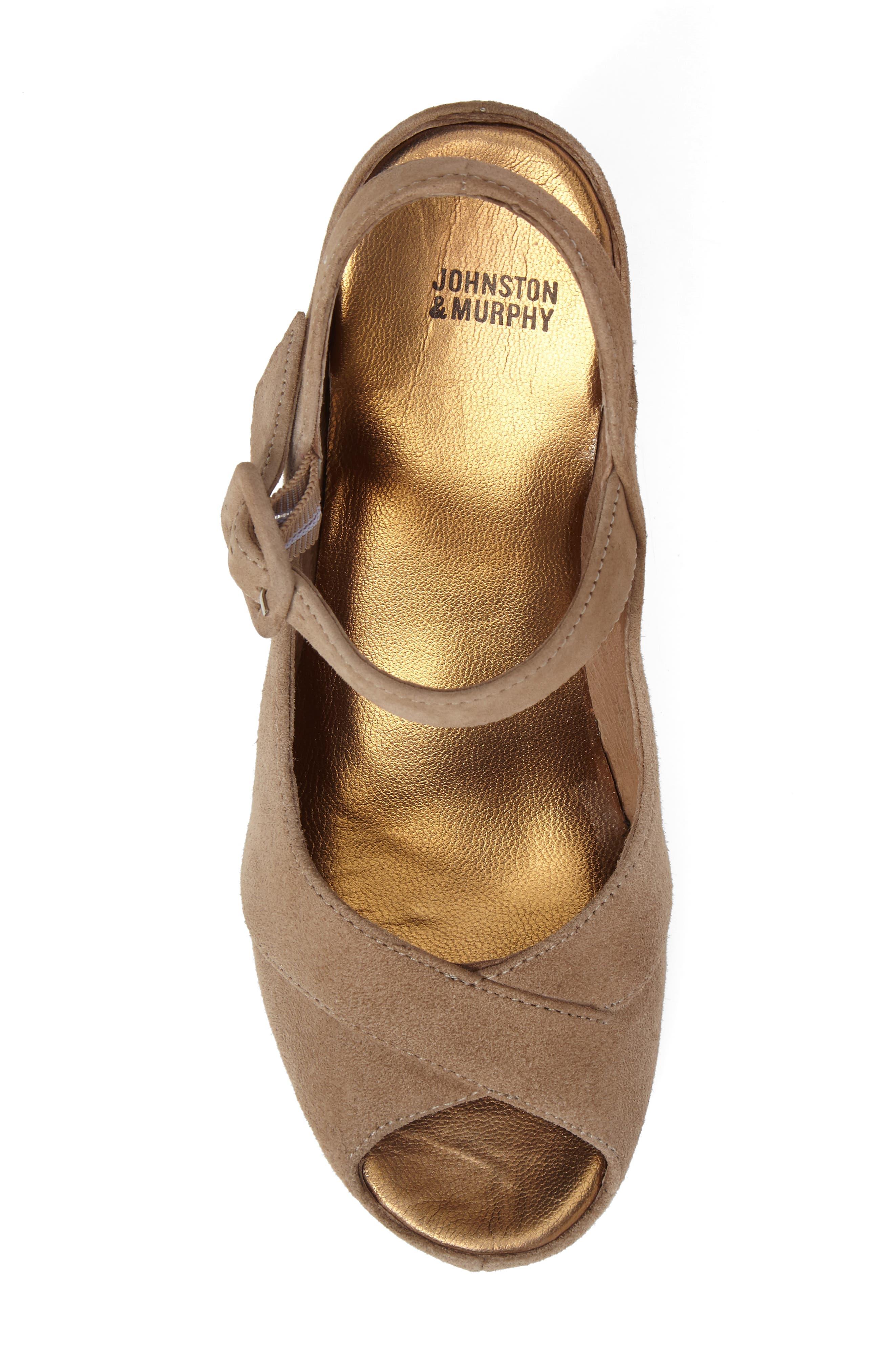 Tara Platform Wedge Sandal,                             Alternate thumbnail 5, color,                             Taupe Suede
