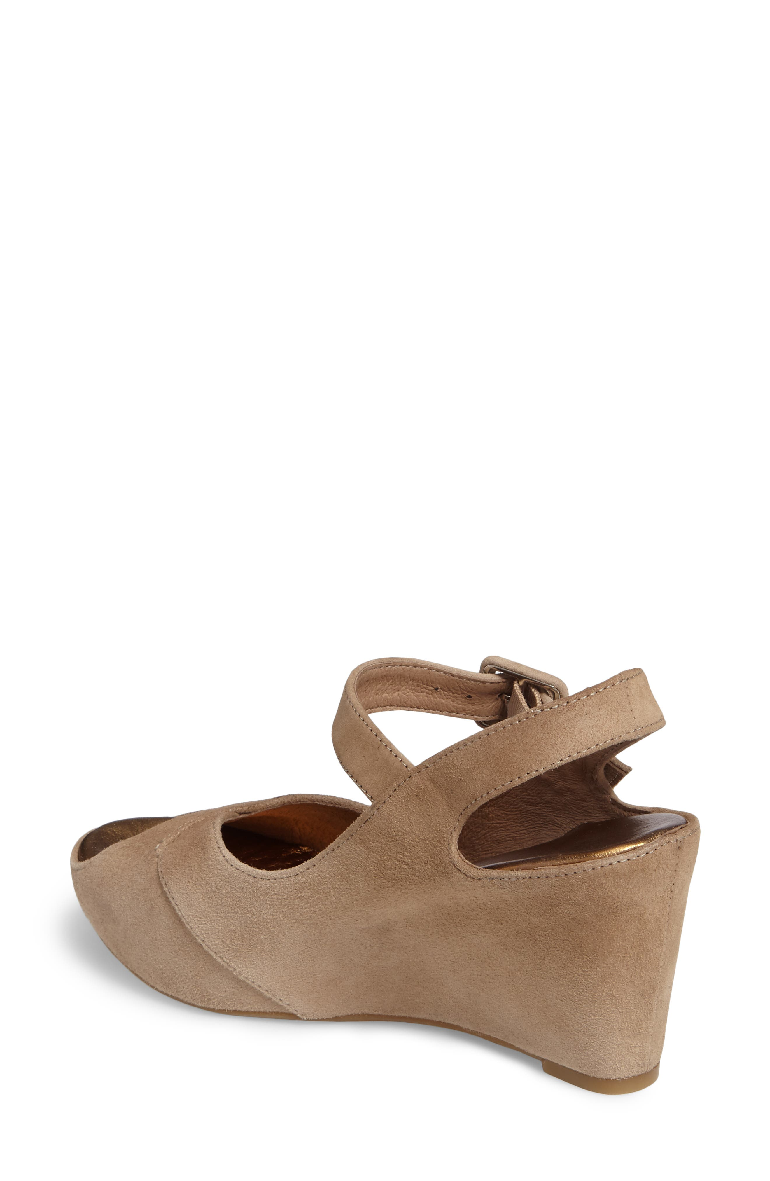 Tara Platform Wedge Sandal,                             Alternate thumbnail 2, color,                             Taupe Suede
