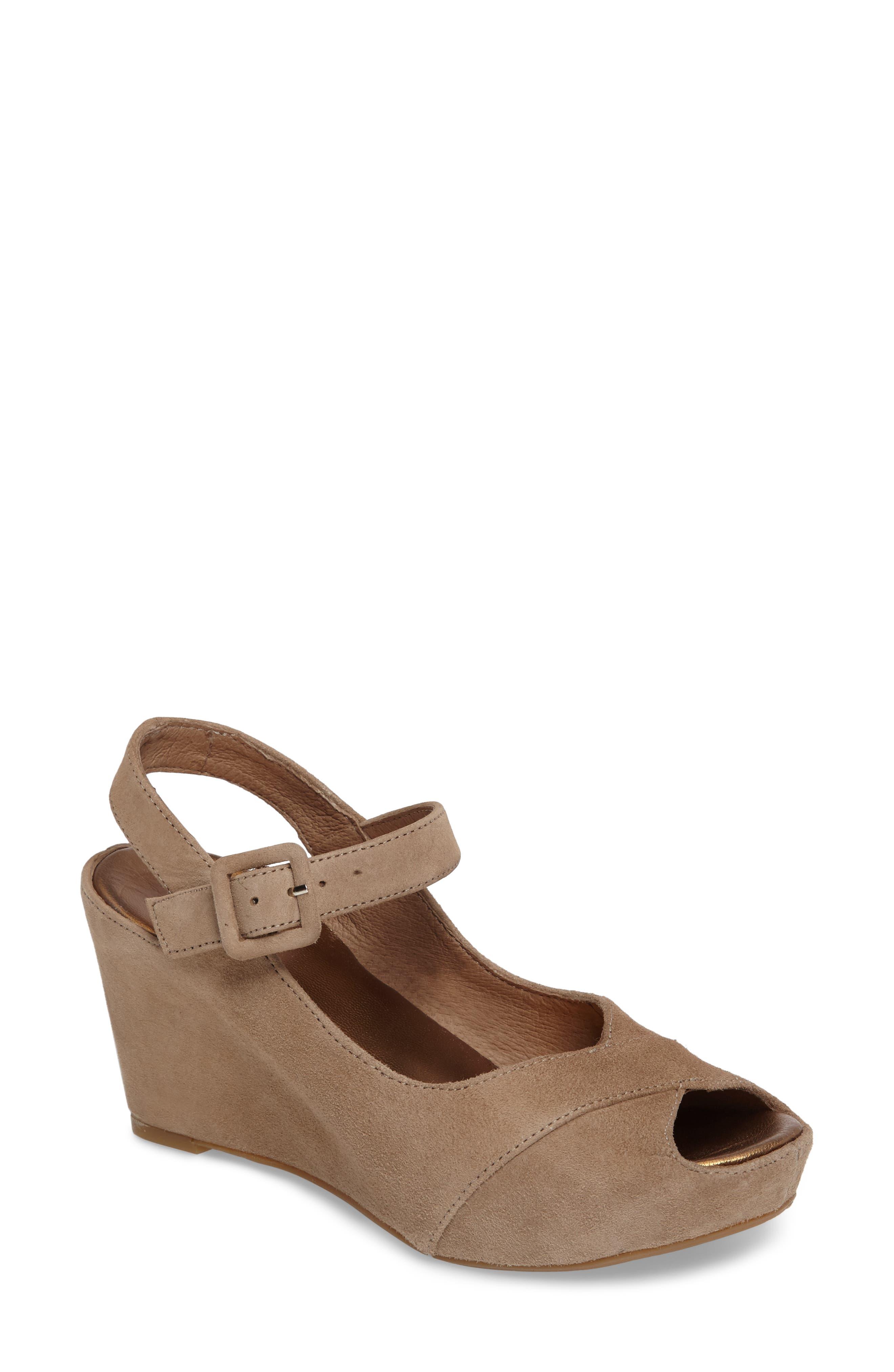 Tara Platform Wedge Sandal,                             Main thumbnail 1, color,                             Taupe Suede
